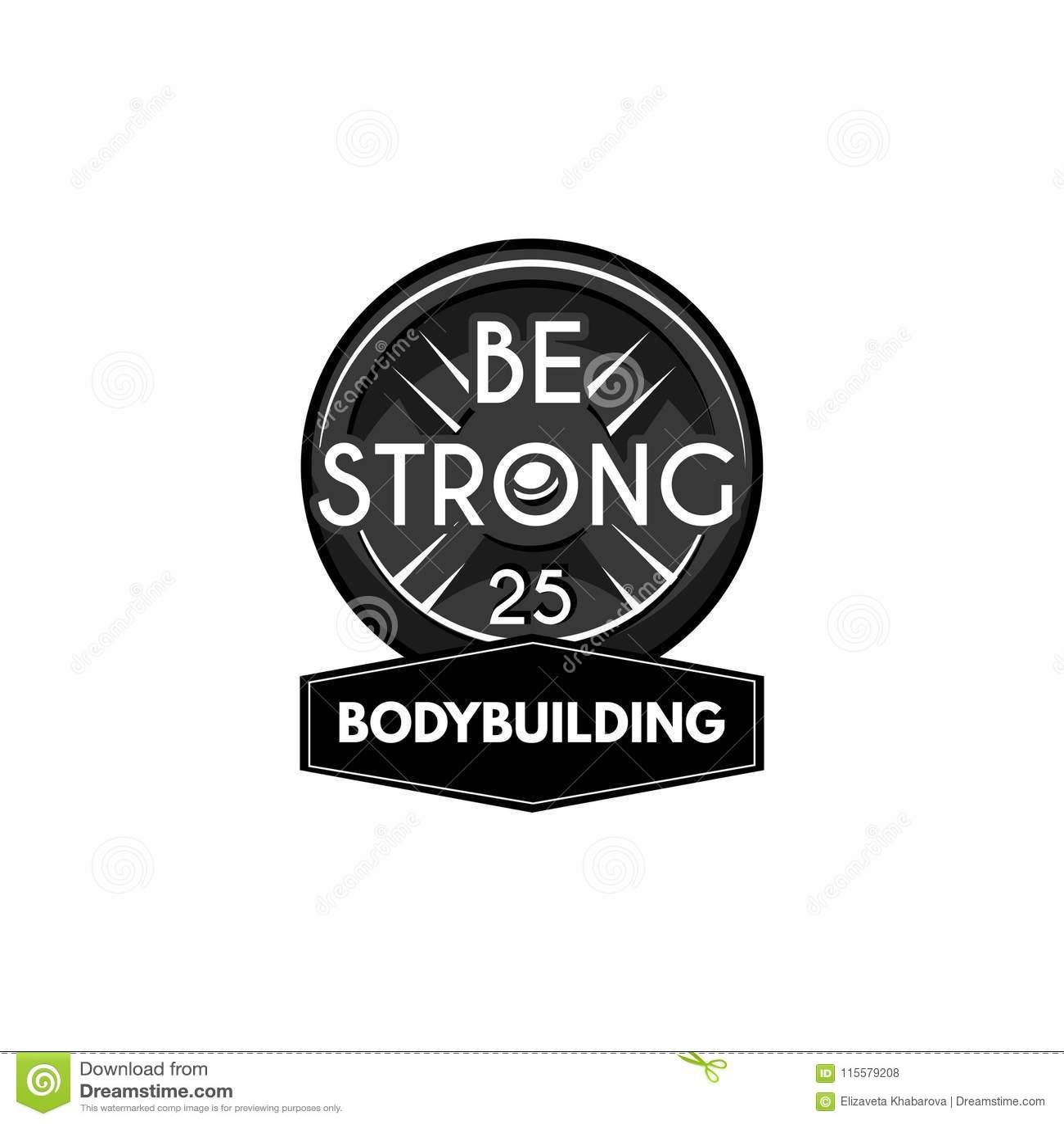 Powerlifting Platte des Gewichthebens Bodybuildinglogoaufkleber Barbellscheibe Vektor