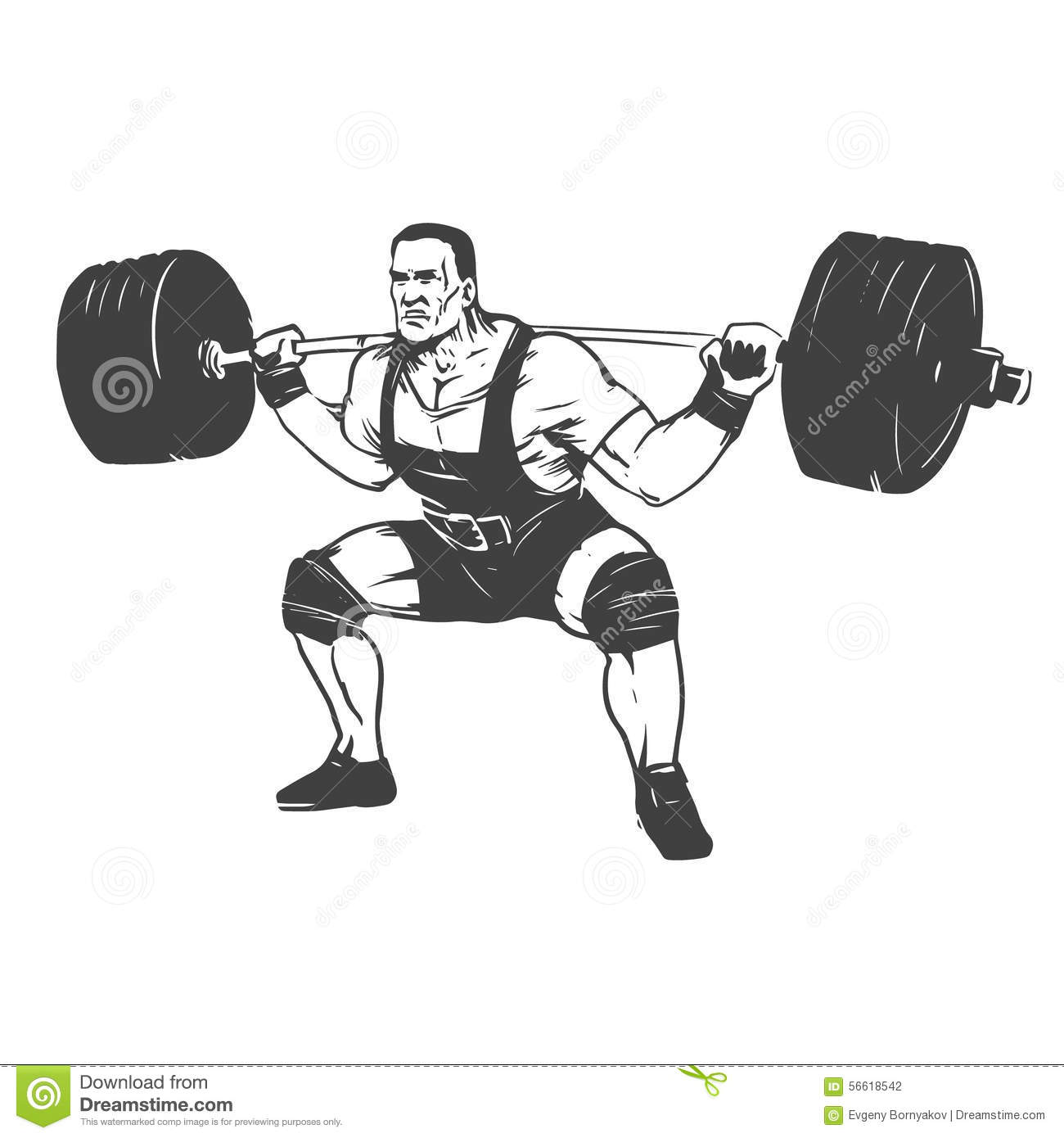 powerlifting squat stock vector illustration of lift 56618542
