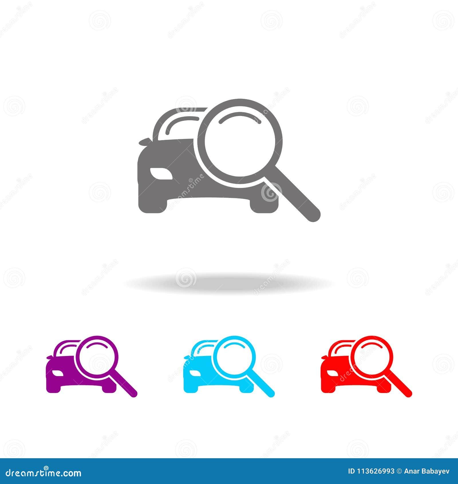 Powiększać - szkło z samochodową ikoną Elementy samochód naprawy wielo- barwione ikony Premii ilości graficznego projekta ikona P
