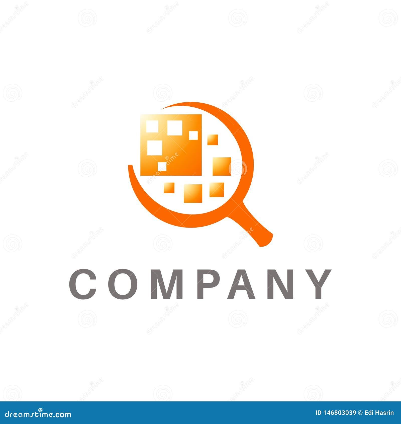 Powiększający - szklany logo, przedmiota abstrakt w centrum, pomarańczowy kolor