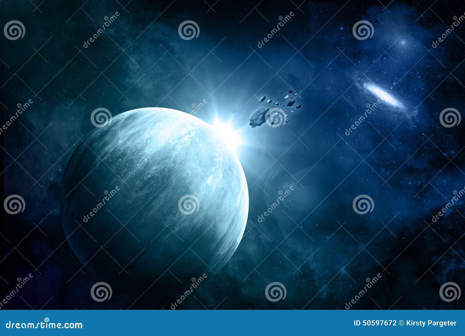 Powieściowy astronautyczny tło z meteorytami