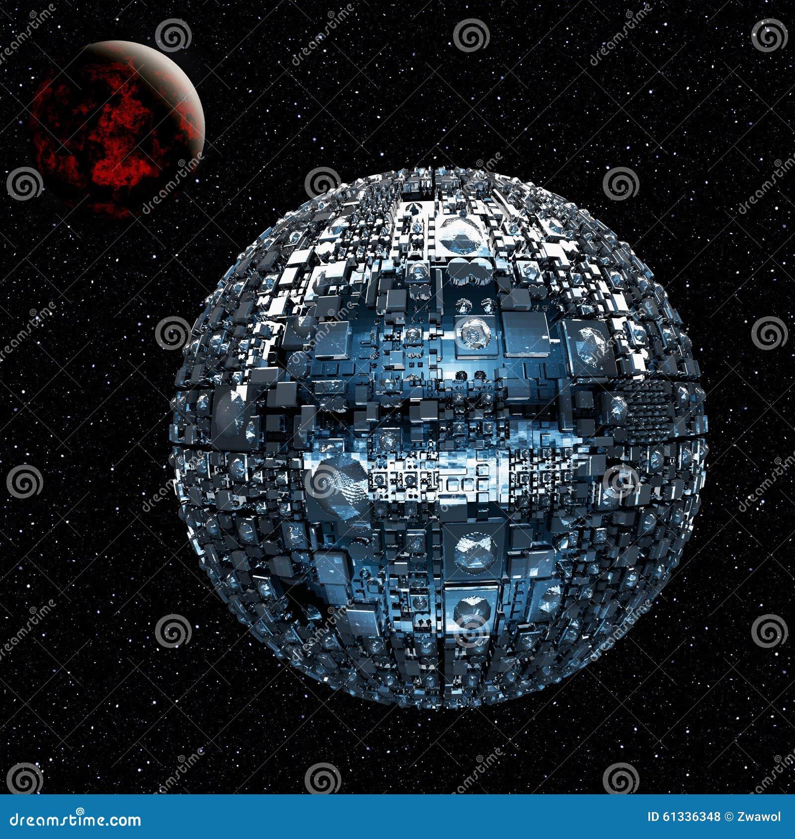 Powieściowy wszechświat z przestrzeni bitwy statkiem