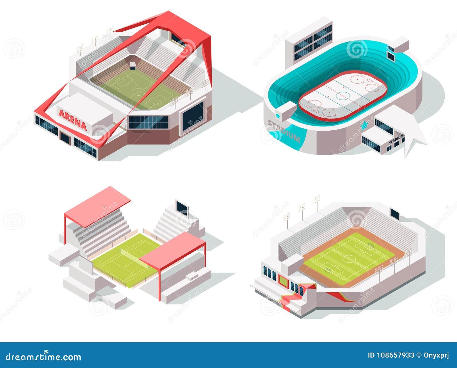Powierzchowność stadium budynki hokej, piłka nożna i tenis, Isometric obrazki