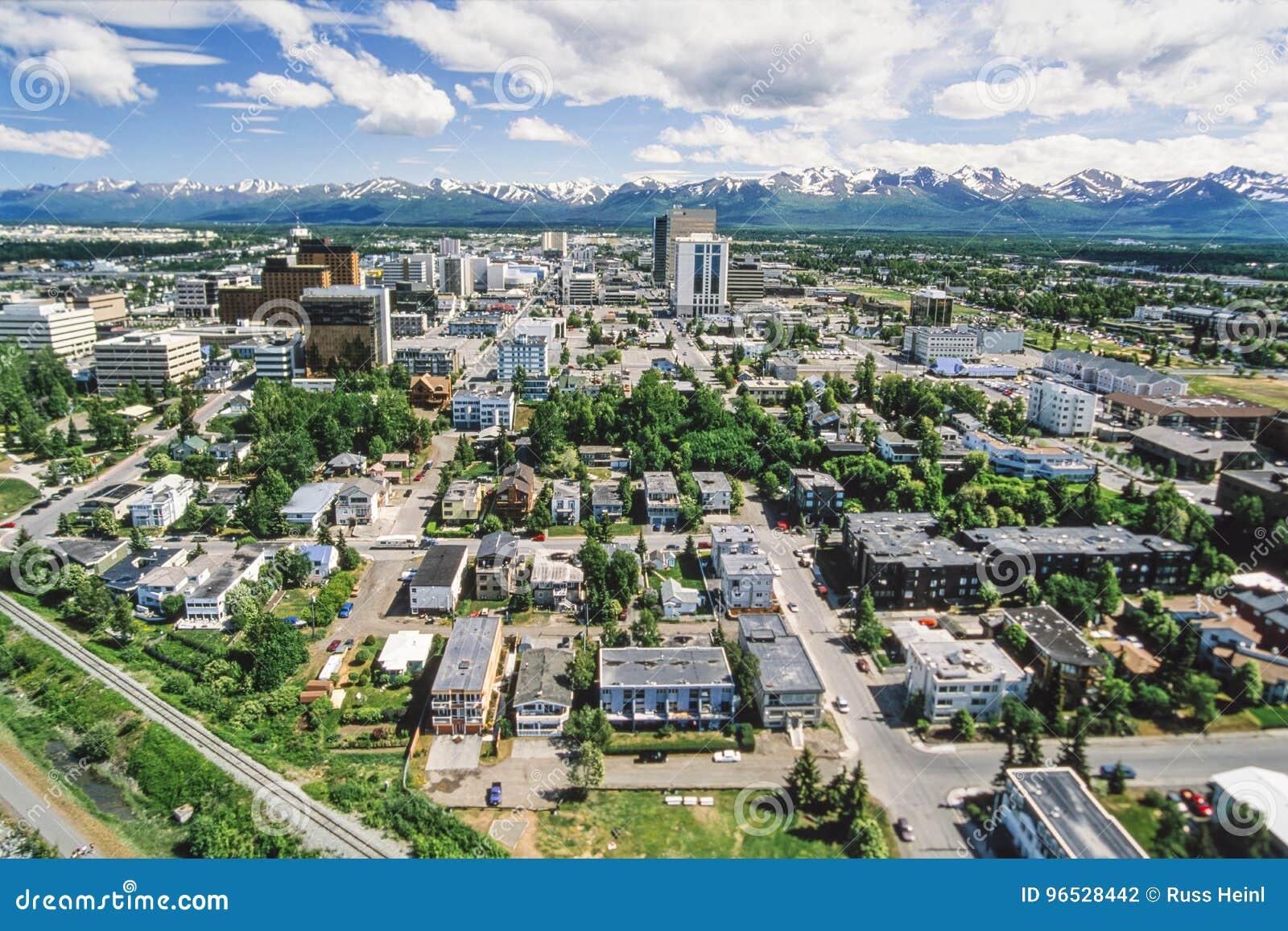 Powietrzna fotografia zakotwienie Alaska