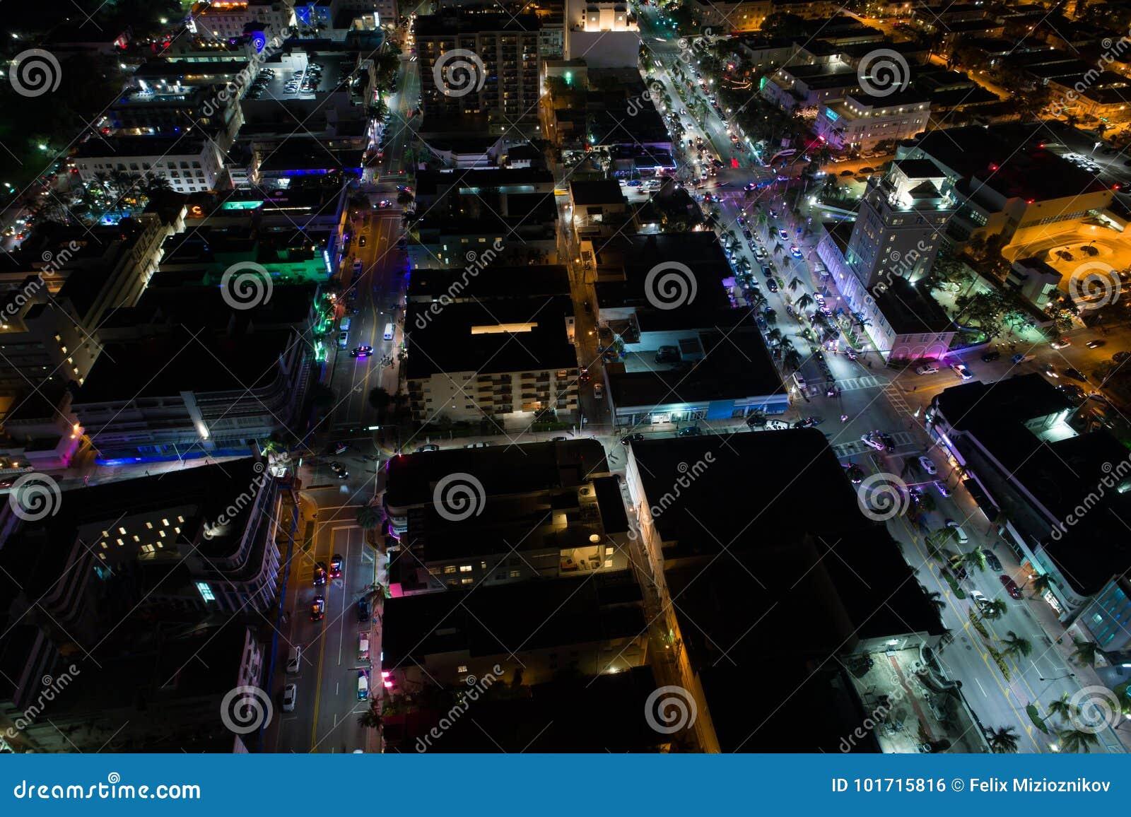 Powietrzna nocy sceny południe plaża Miami Floryda