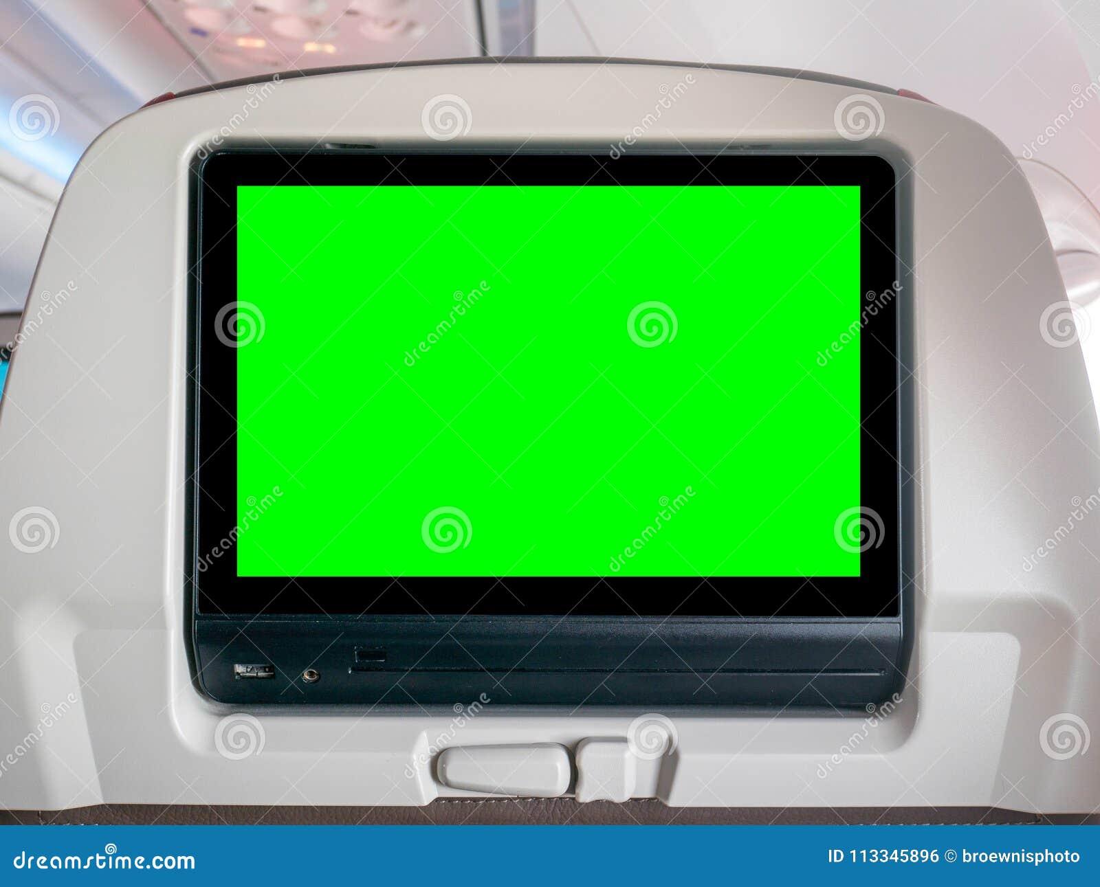Powietrzna rozrywka z zieleń ekranem, Seatback ekran z zieleń ekranem w samolocie