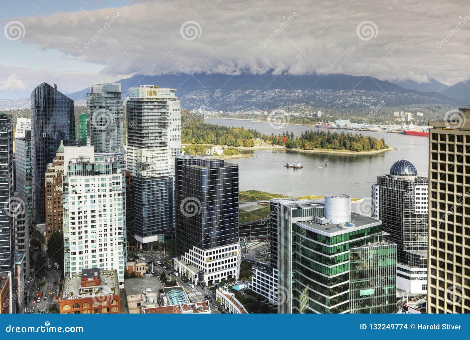 Powietrzna scena Vancouver, Kanada śródmieście