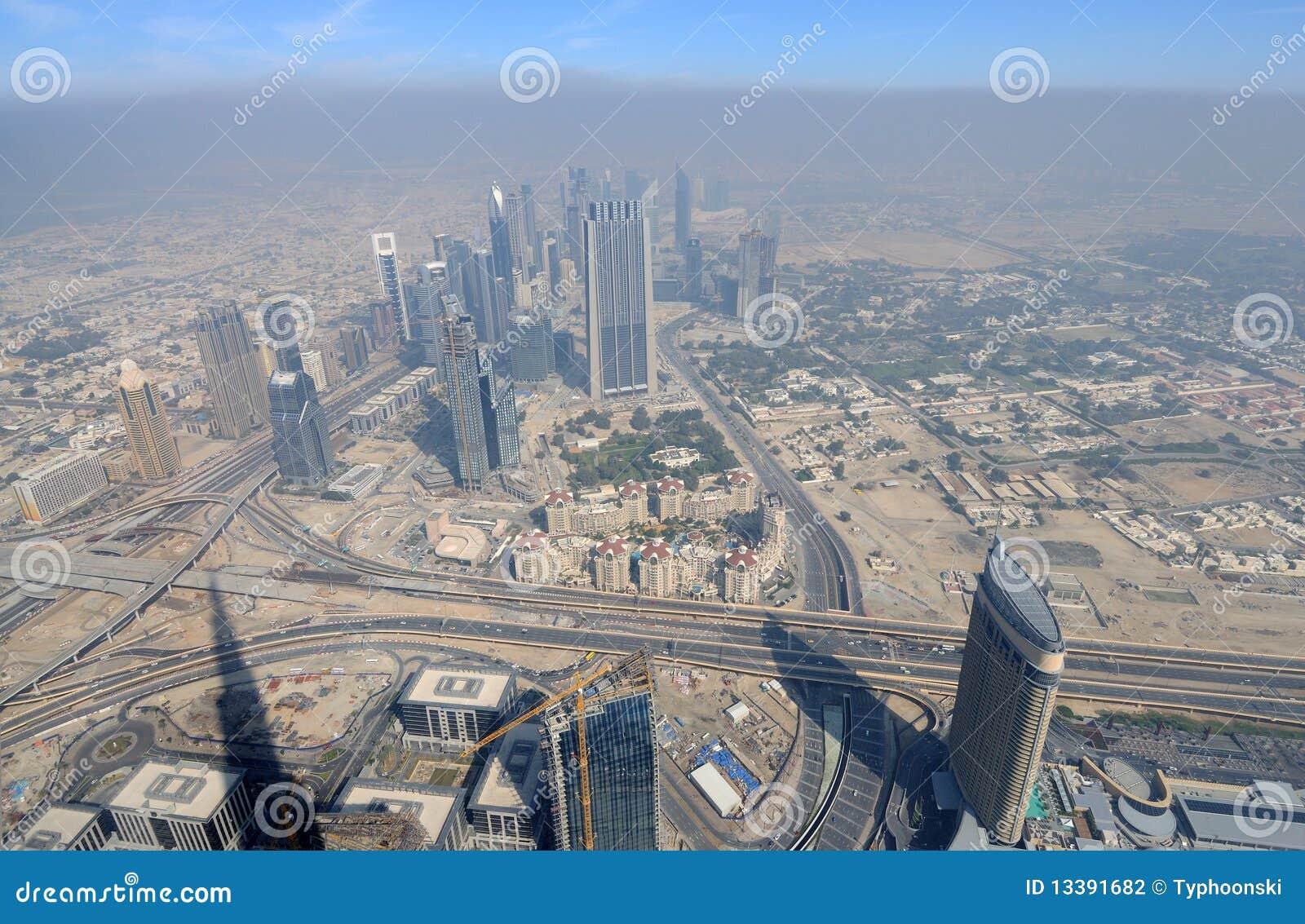 Powietrzny miasta Dubai widok