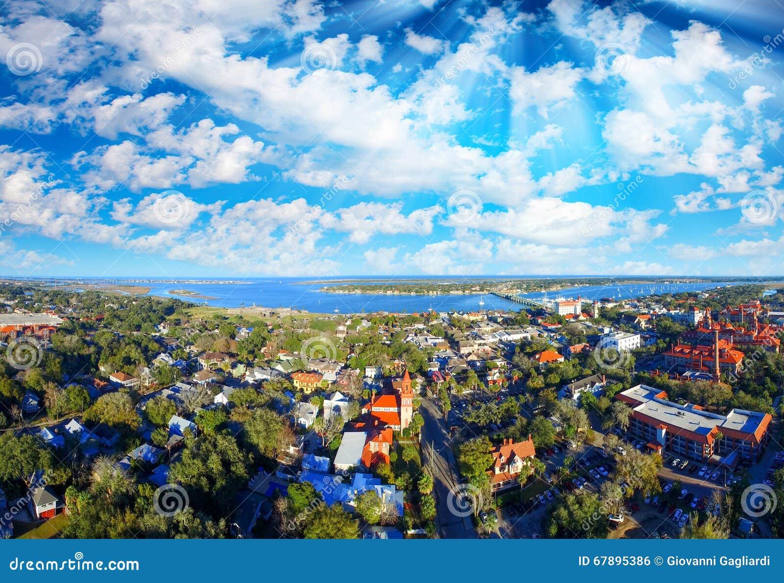 Powietrzny panoramiczny widok St Augustine, Floryda