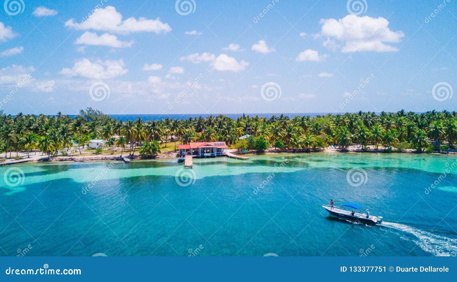 Powietrzny trutnia widok południe Nawadnia Caye tropikalną wyspę w Belize bariery rafie