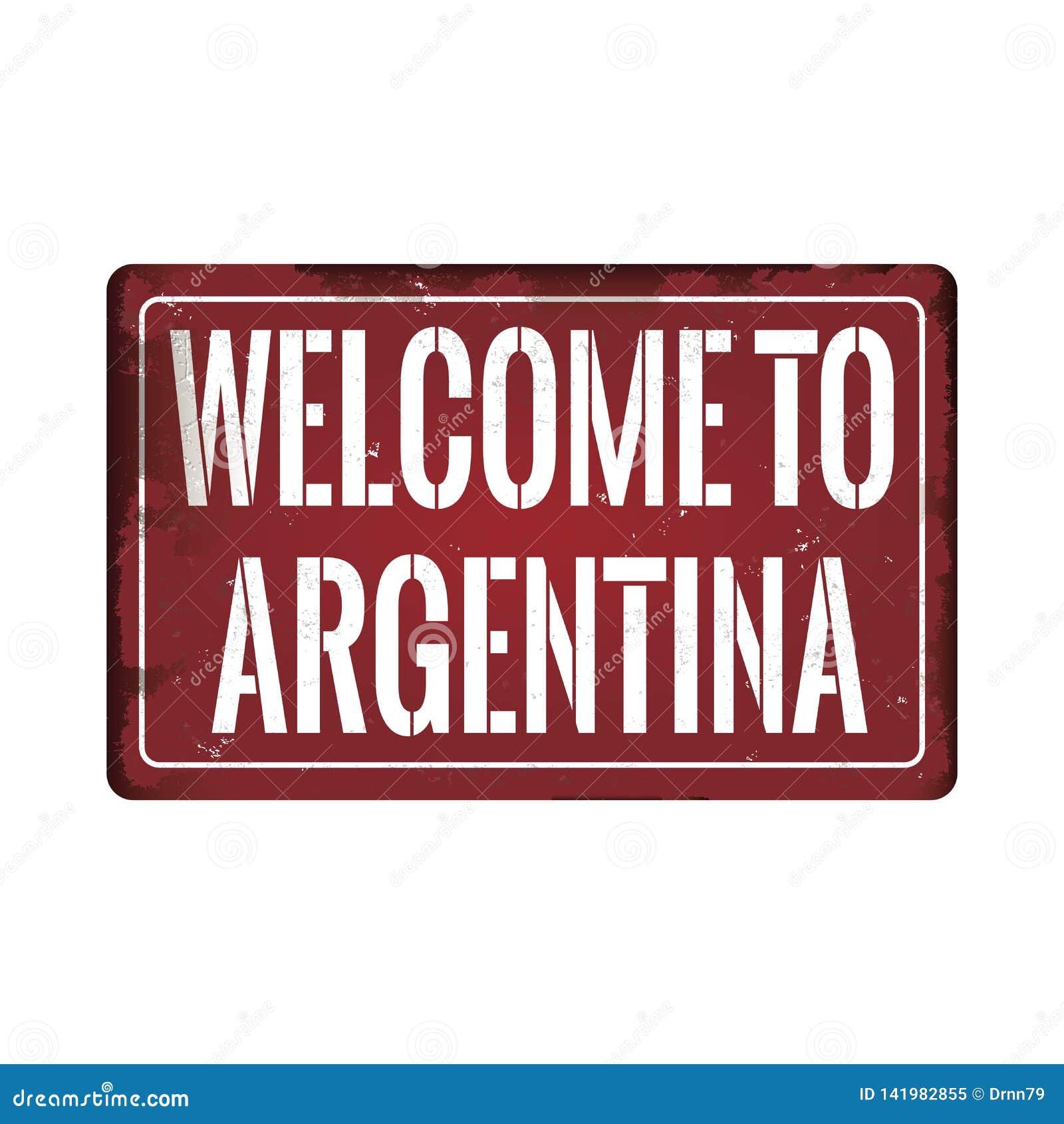 Powitanie Argentina metalu ikony talerza brudny ośniedziały znak