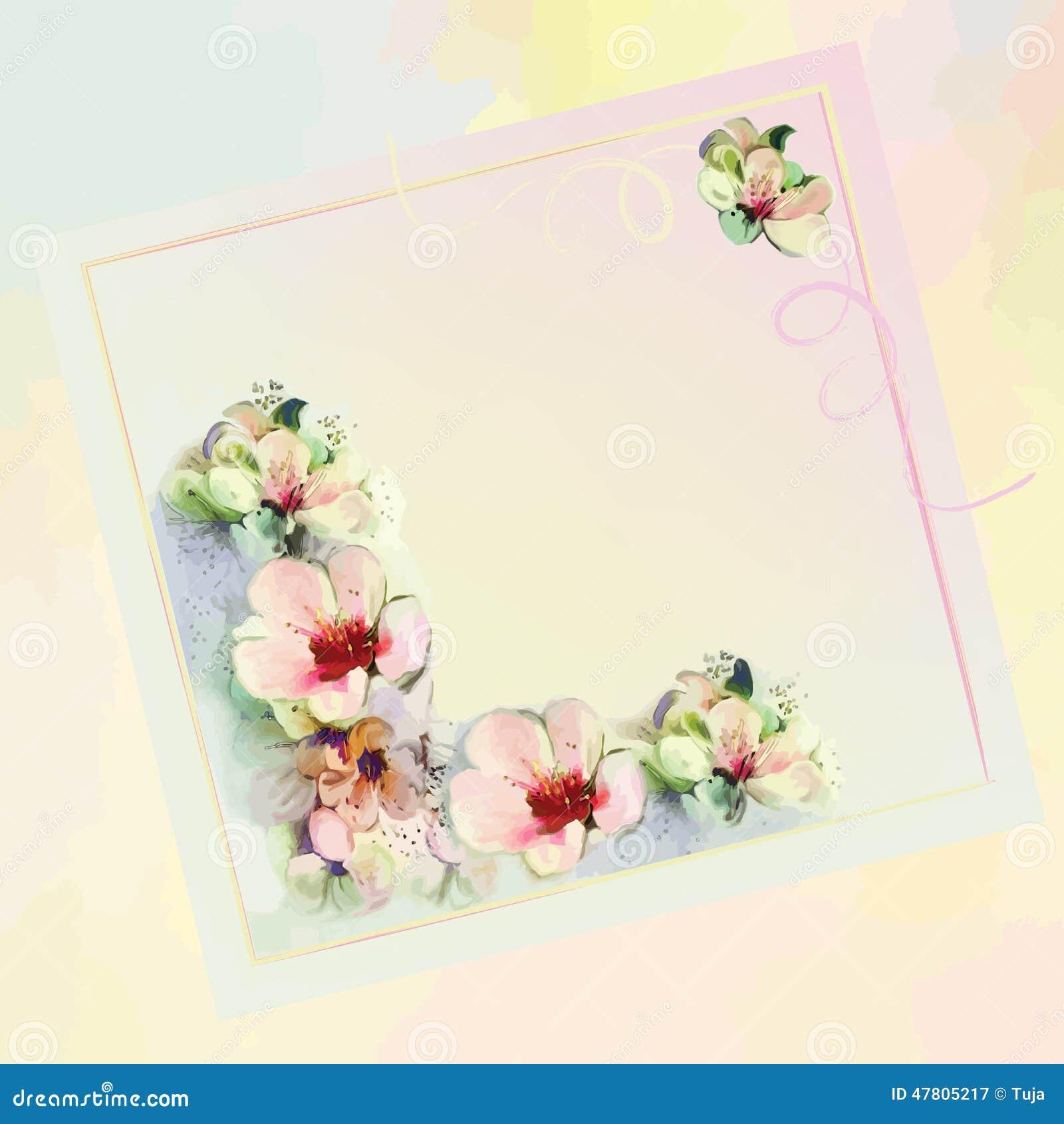 Powitanie kwiecista karta w pastelowych kolorach z abstrakcjonistycznymi kwiatami
