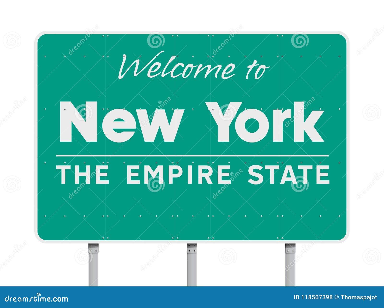 Powitanie Nowy Jork drogowy znak