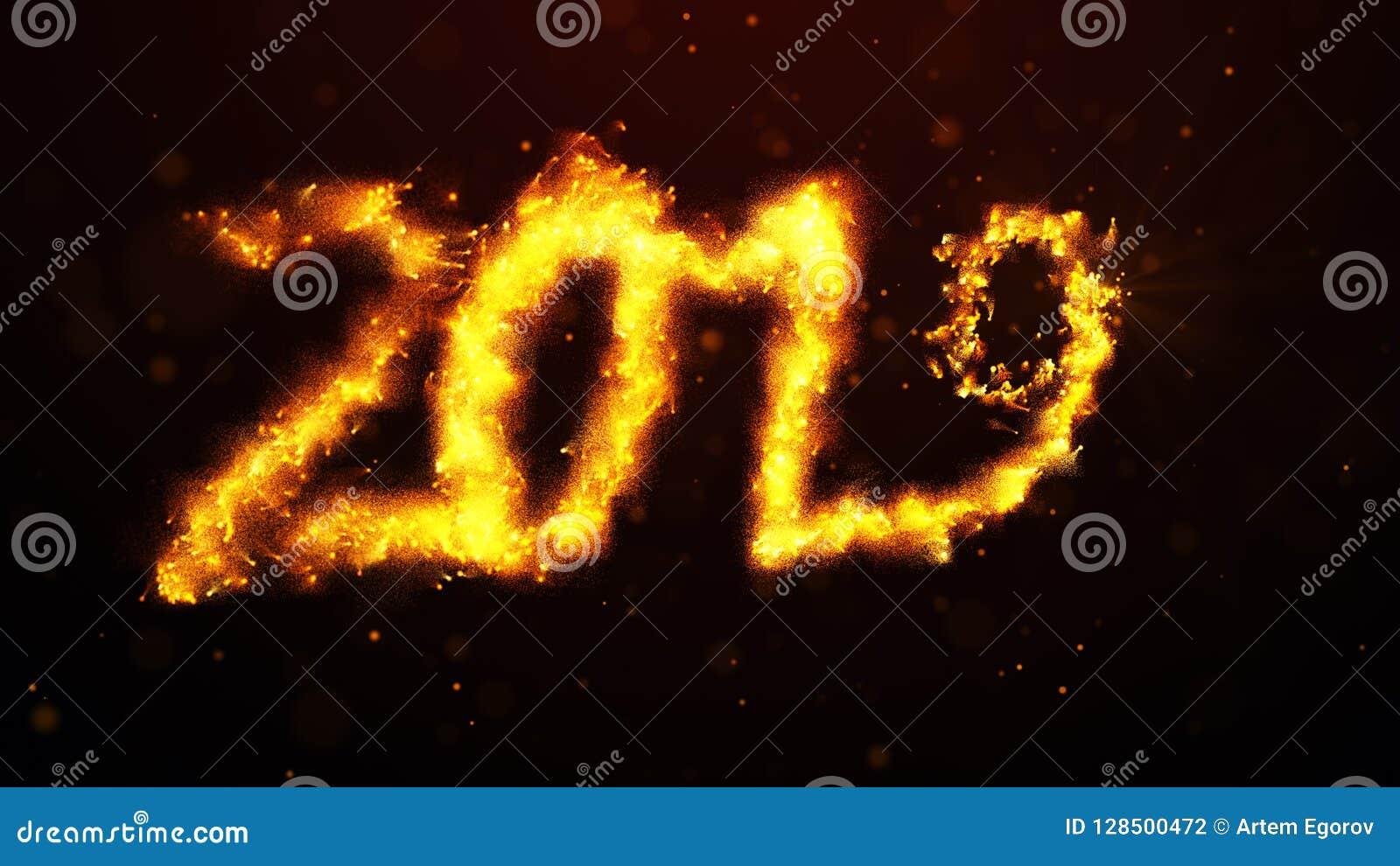 Powitanie nowy rok 2019 olśniewający kolor żółty błyska fajerwerki