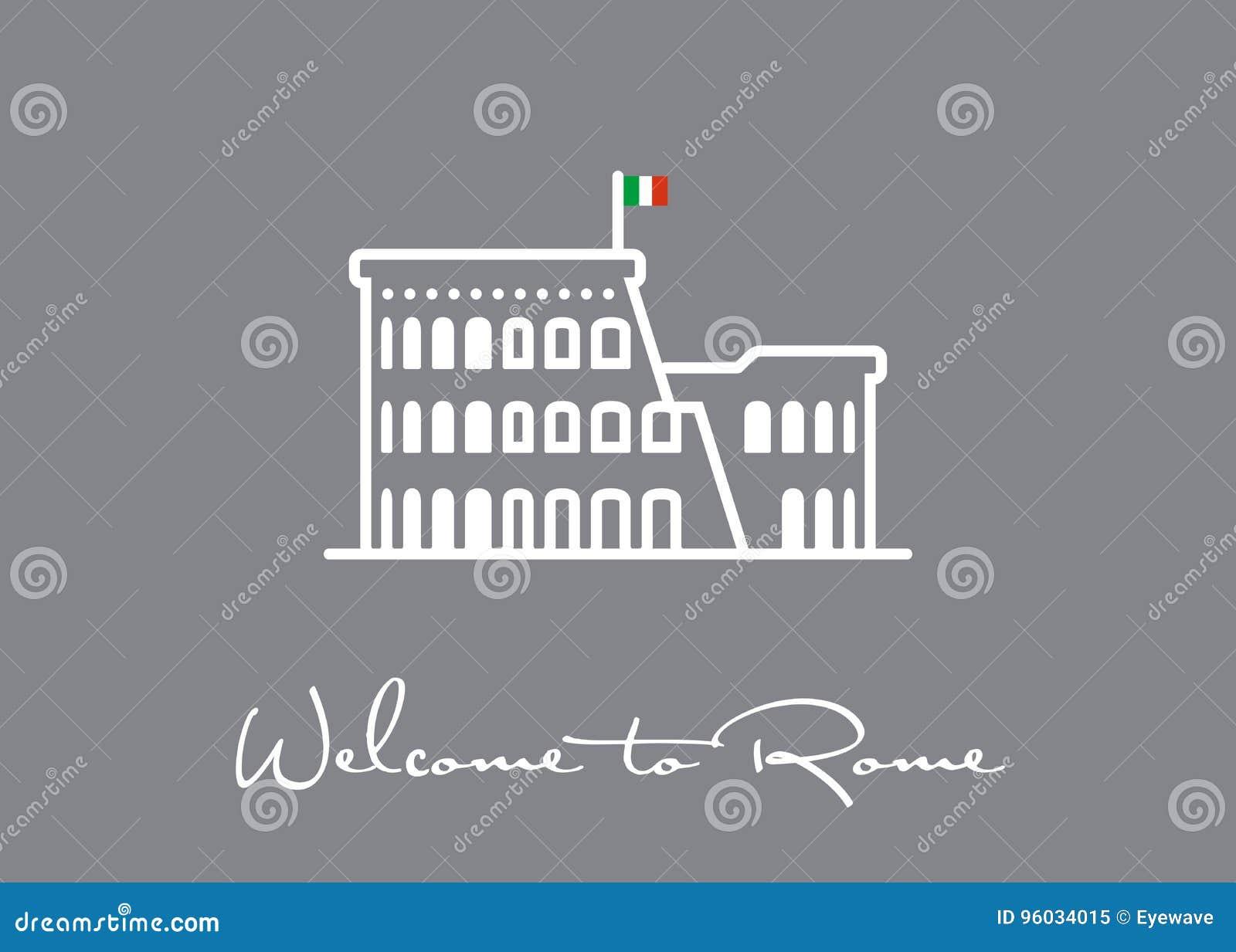Powitanie Rzym kartka z pozdrowieniami z Colosseum rujnuje ikonę