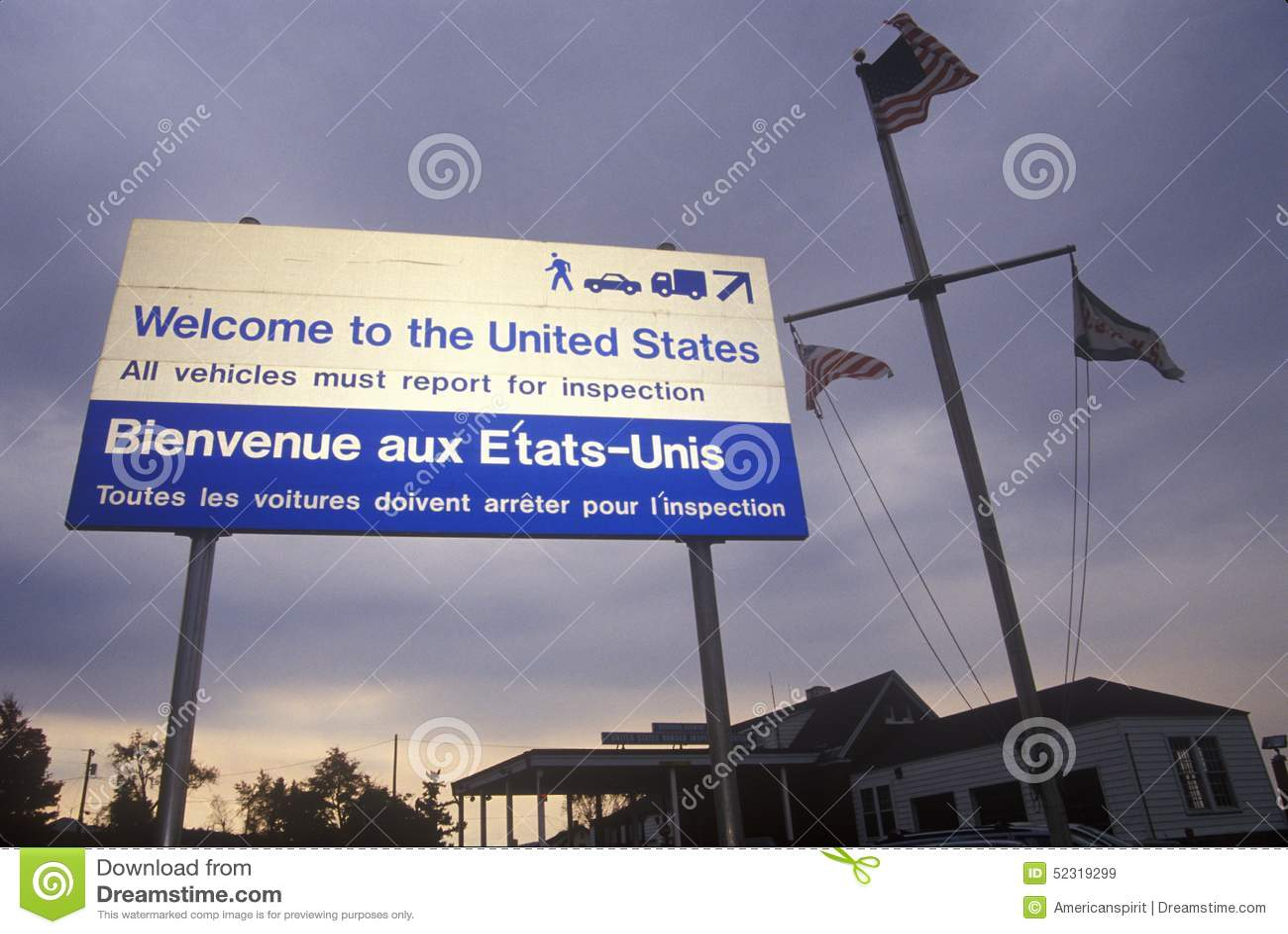 Powitanie Stany Zjednoczone podpisuje wewnątrz Richford VT/Canada