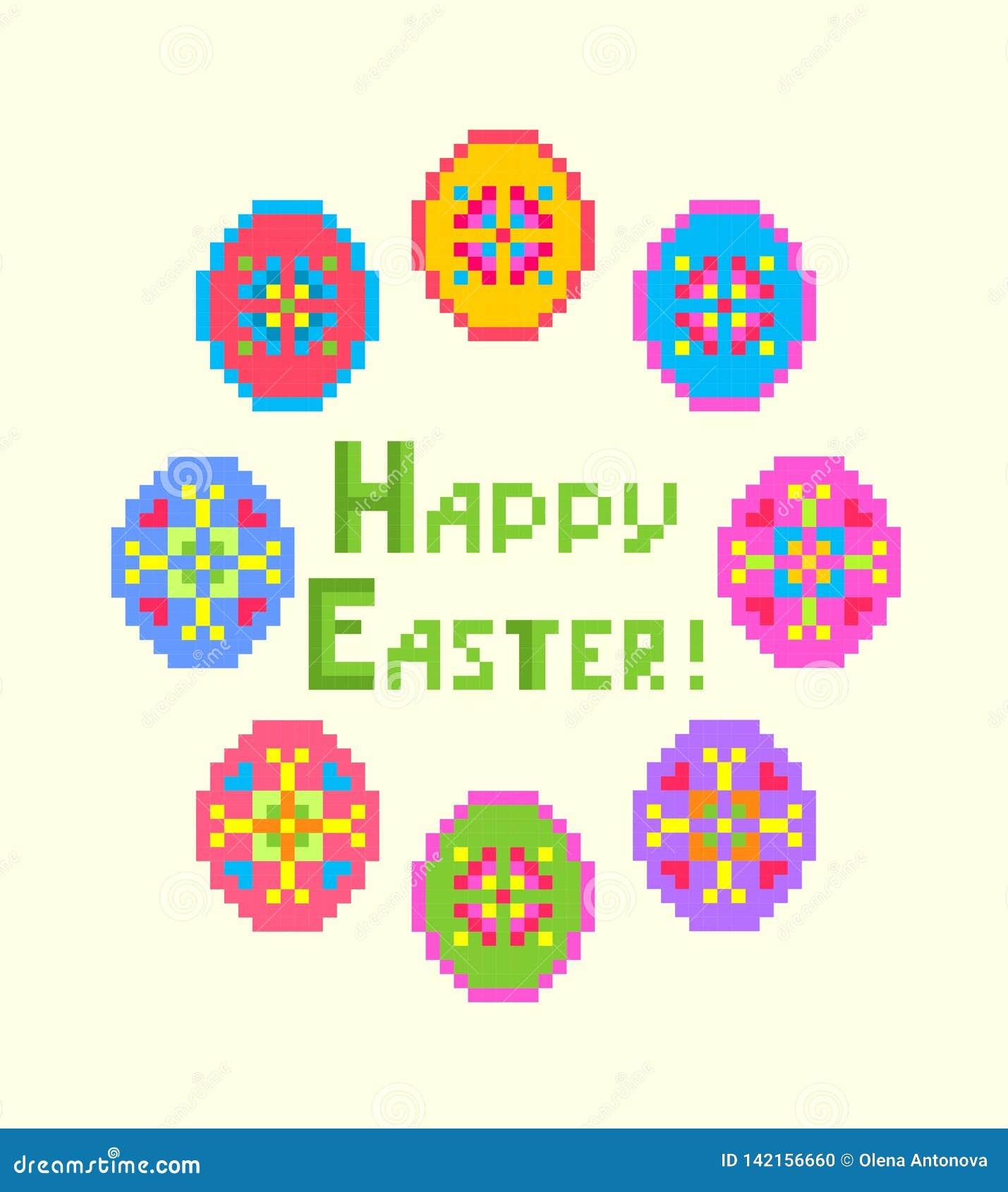 Powitanie Wielkanocna broderia z Szczęśliwym Wielkanocnym literowaniem i kolorowymi jajkami