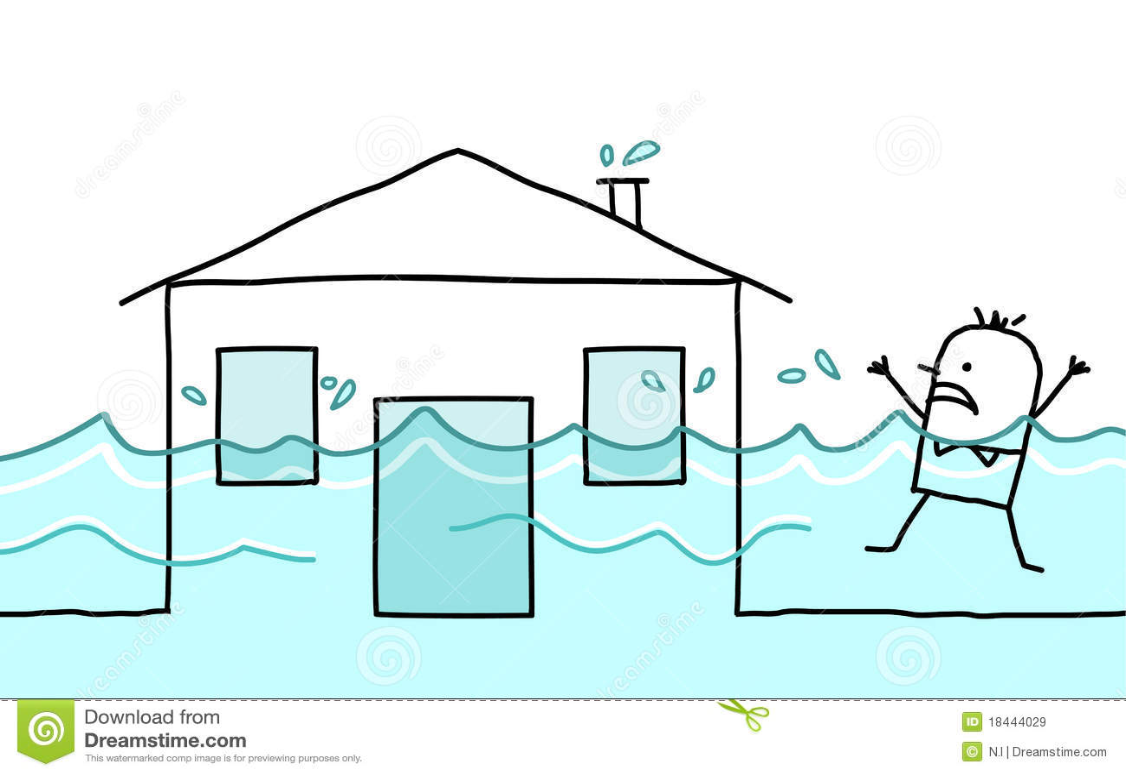 Powodzi domu mężczyzna