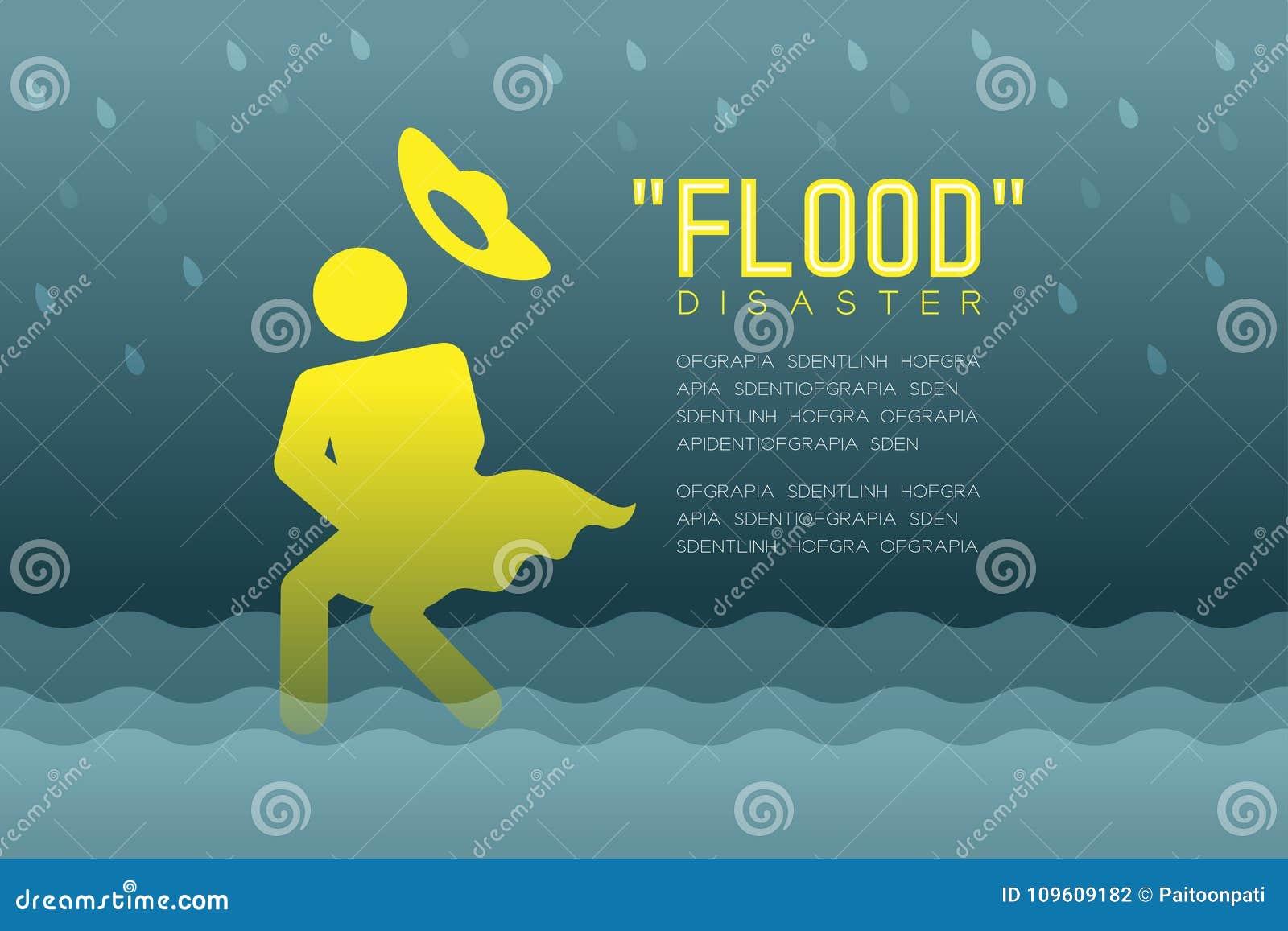 Powodzi katastrofa kobiet ikon piktogram z opadającego kapeluszowego projekta infographic ilustracją