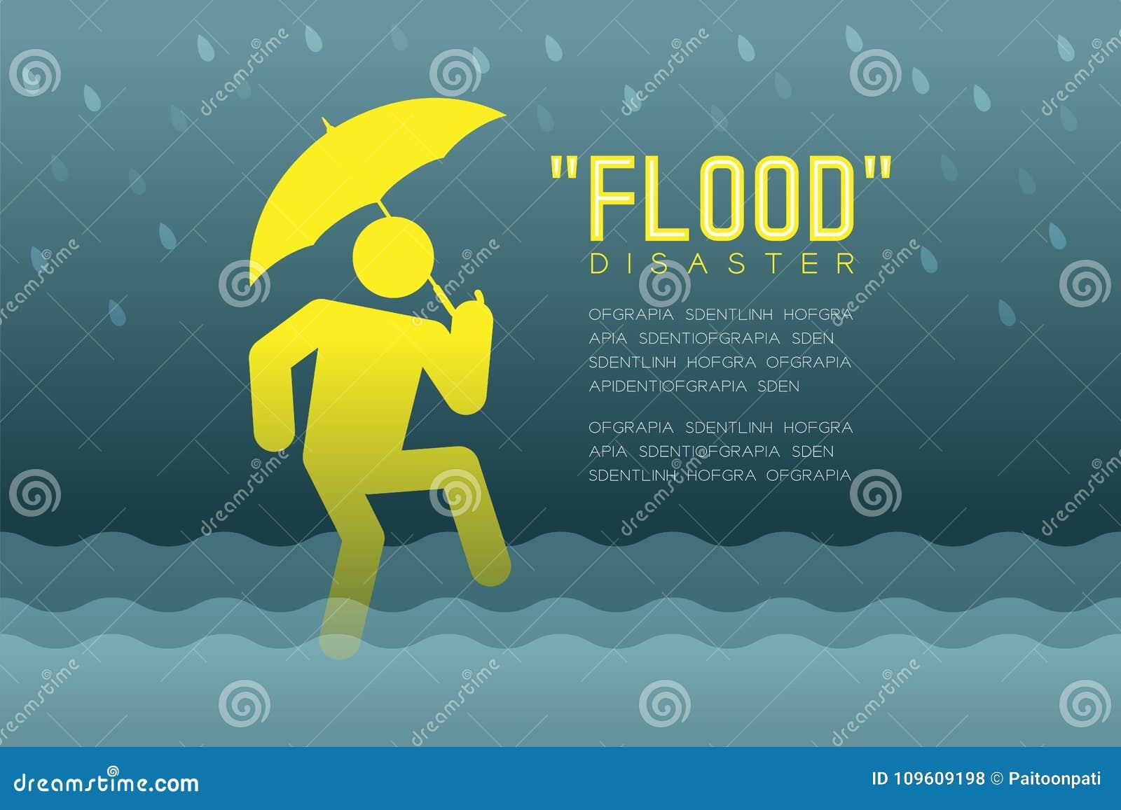 Powodzi katastrofa mężczyzna ikon piktogram z parasolowego projekta infographic ilustracją