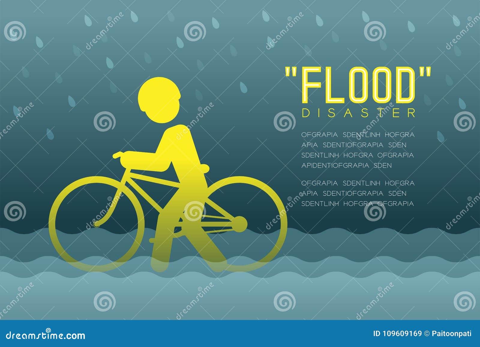 Powodzi katastrofa mężczyzna ikon piktogram z rowerowego projekta infographic ilustracją