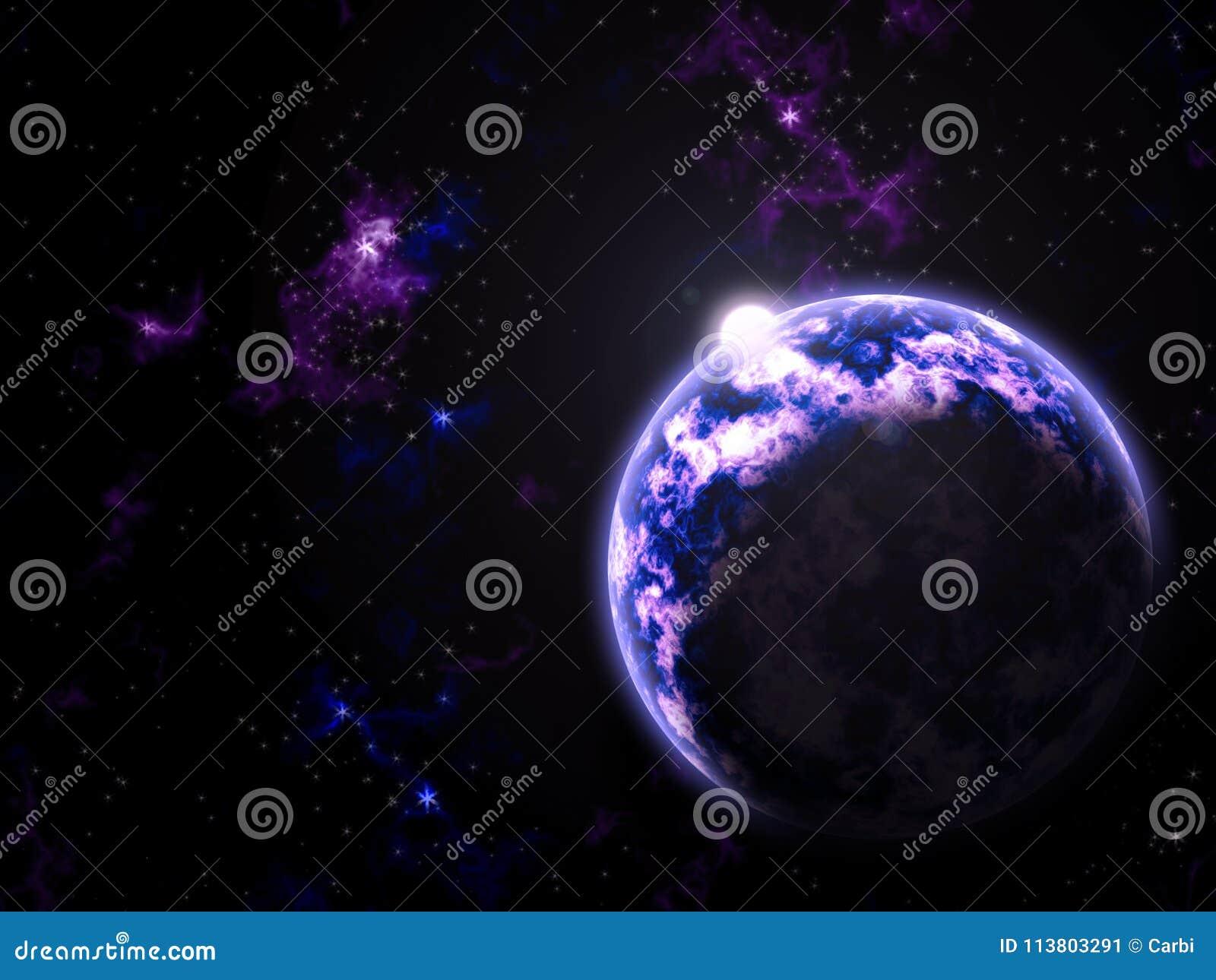 Pozafioletowa galaktyki planeta, słońce i