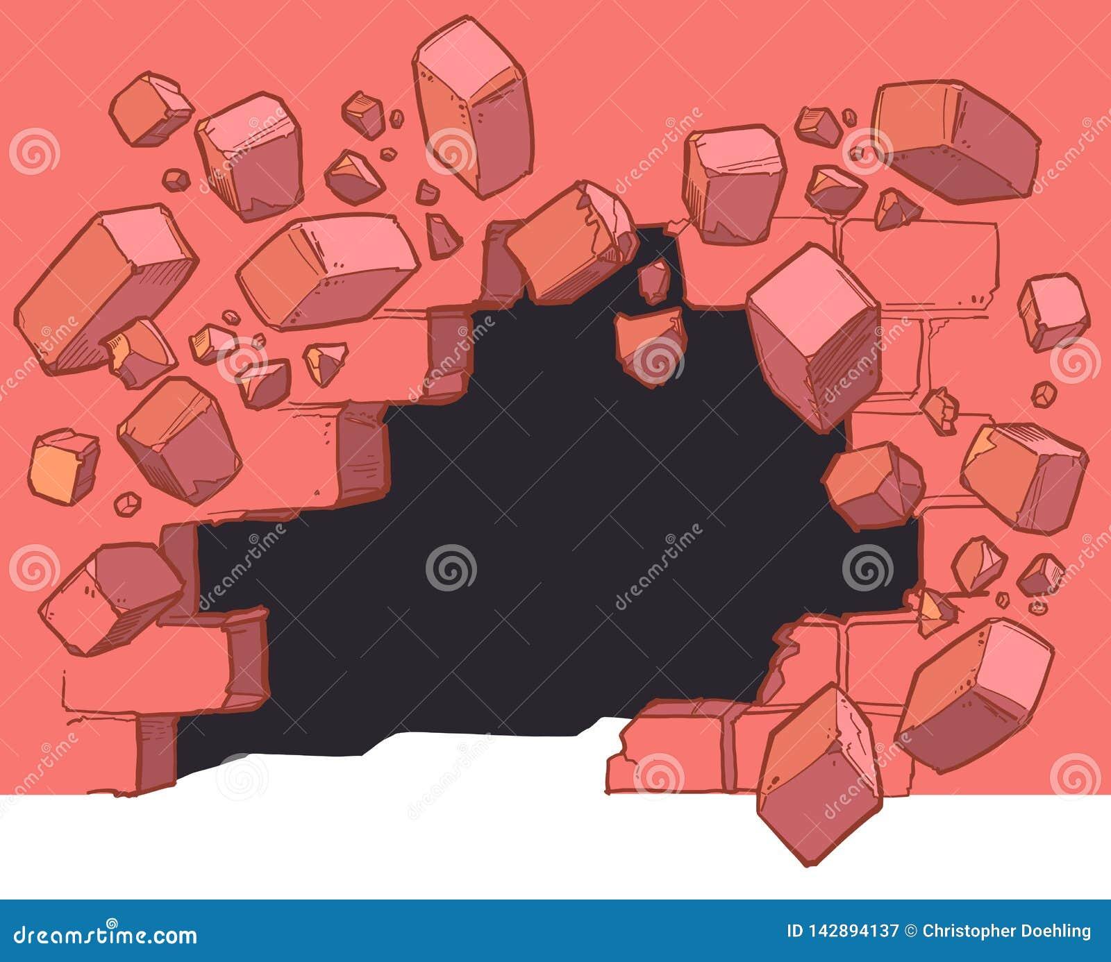 Poziom Terenu dziury łamanie Przez Czerwonej ściany z cegieł