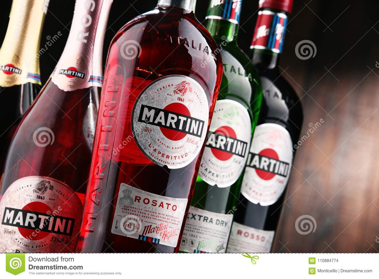 Bottles Of Martini, Famous Italian Vermouth Editorial Stock Image