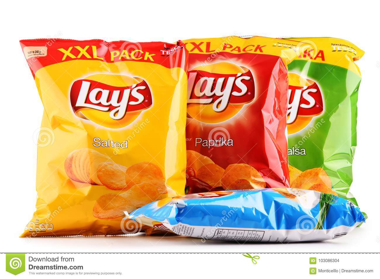 Packets Of Lays Potato Chips Isolated On White Editorial Stock Image
