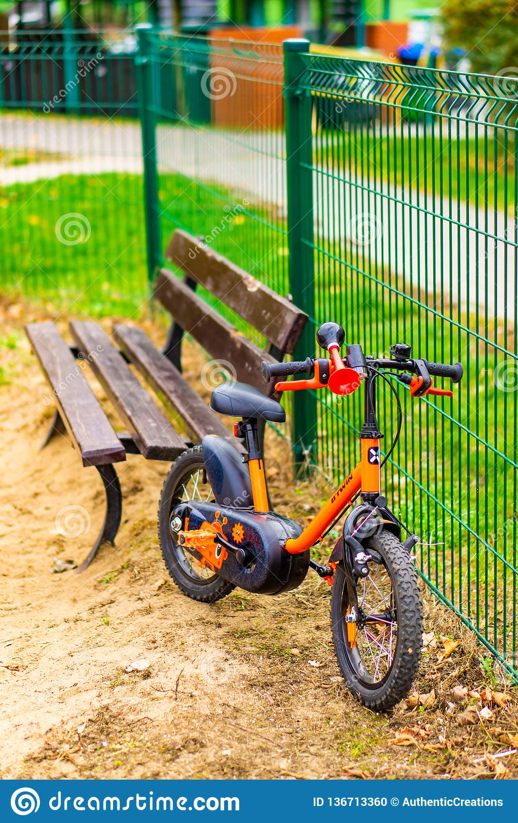 Astonishing Small Child Bike Editorial Image Image Of Metal Bench Bralicious Painted Fabric Chair Ideas Braliciousco