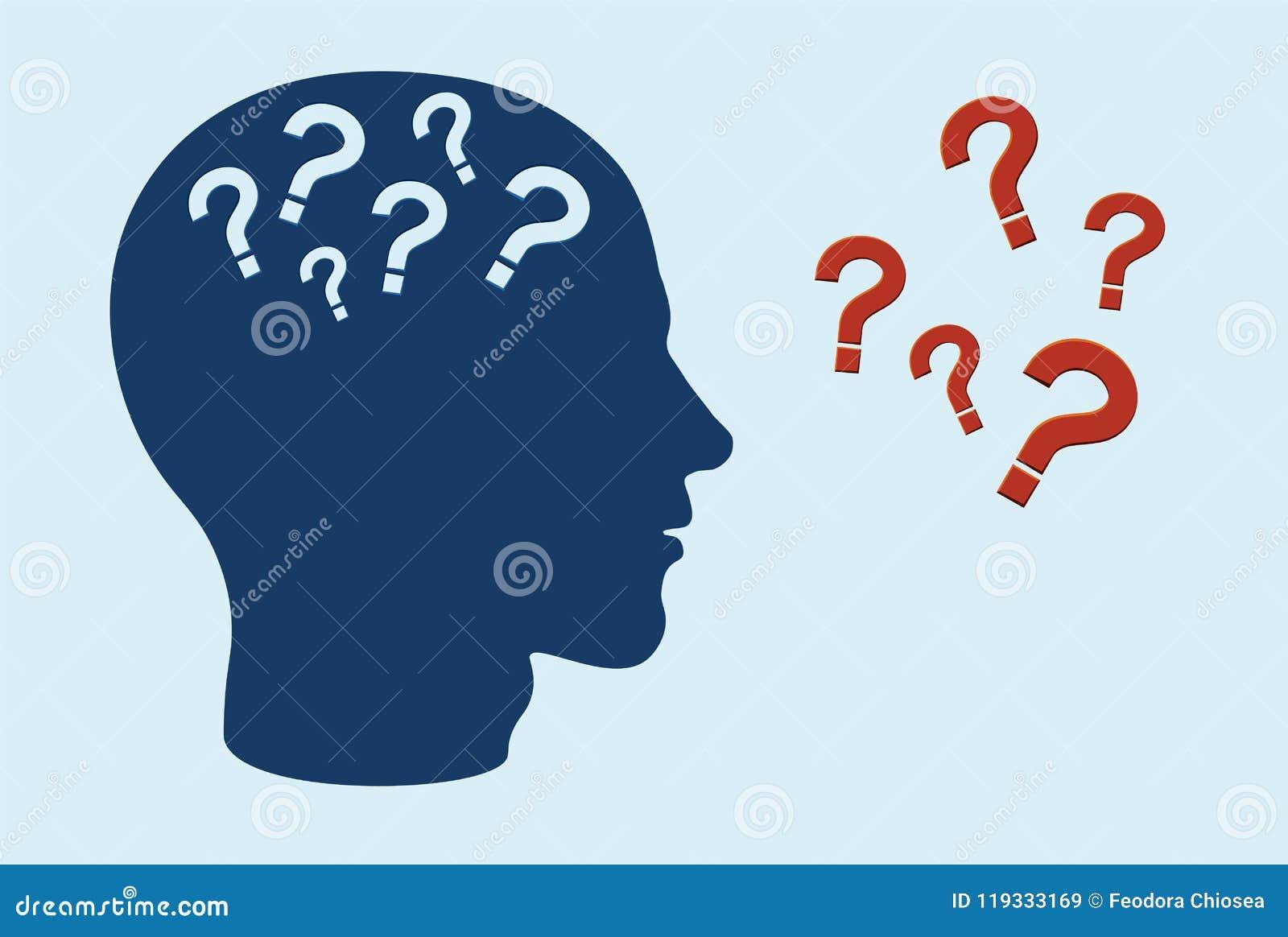 Poznawczy funkci nadszarpnięcia pojęcie Boczny profil ludzka głowa z znakami zapytania