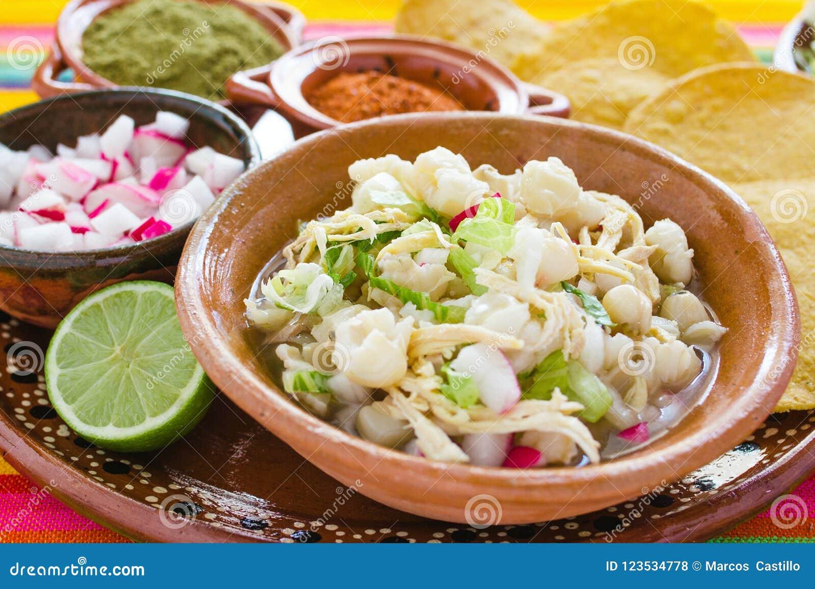 Pozole gjorde mexicansk havresoppa, traditionell mat i Mexico med havrekorn