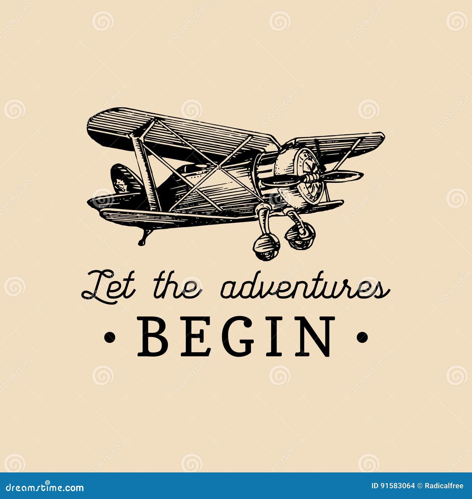 Pozwala przygody zaczynać motywacyjną wycena Rocznika retro samolotowy logo Ręka kreślił lotnictwo ilustrację