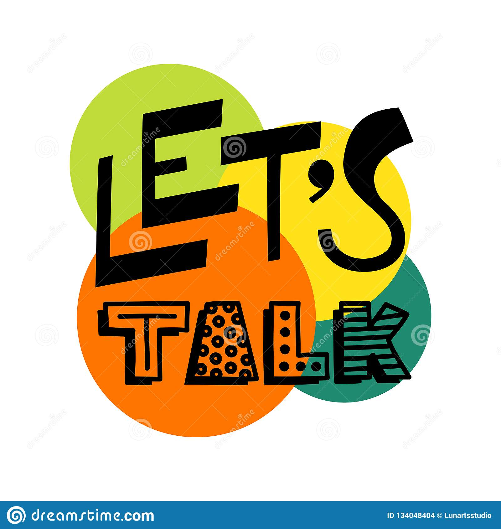 Pozwala rozmowa tekst - wręcza remisu doodle literowania wektor