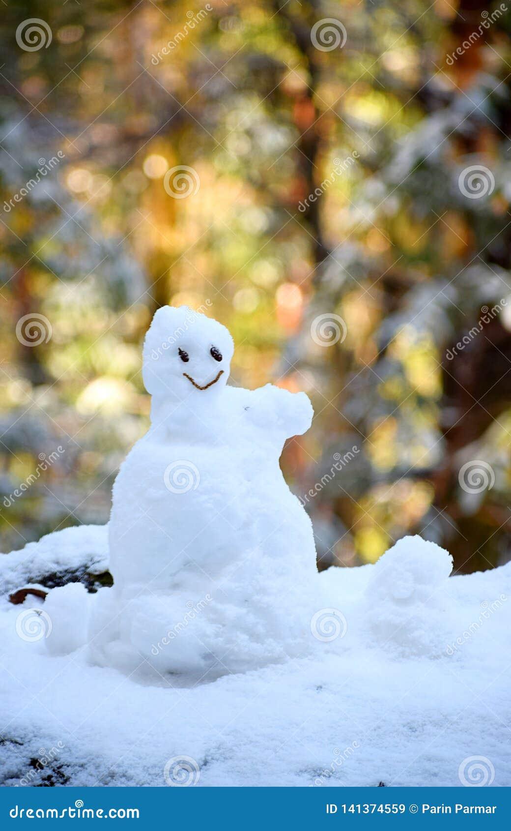 Pozytywne emocje i postawa mały bałwan radość, szczęście i Uśmiechnięta twarz -, -