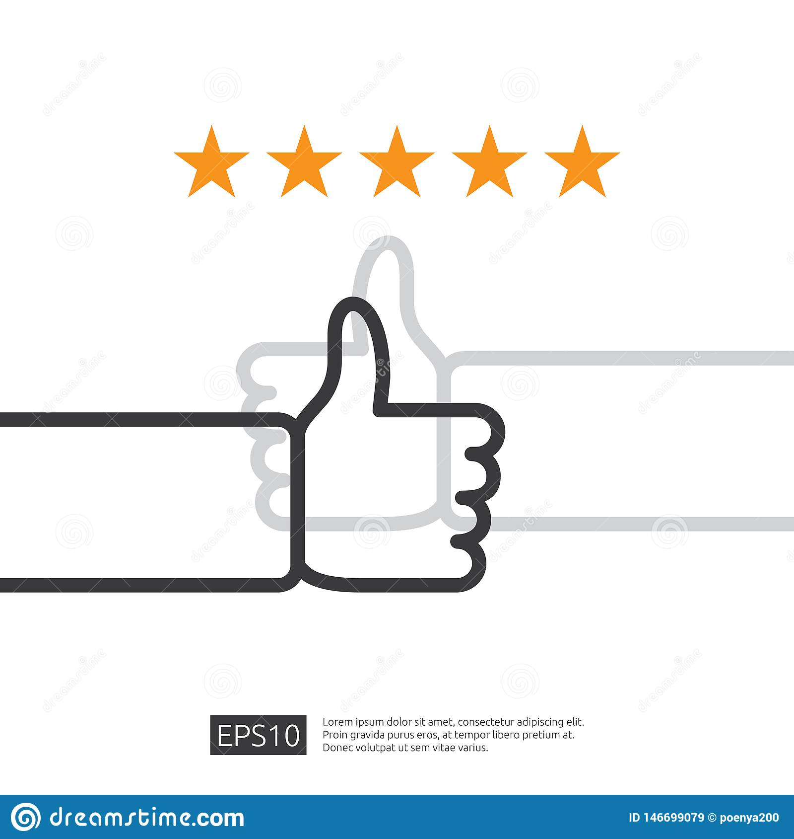 Pozytywny dobry przegląd z ręka kciukiem w górę symbolu na ogólnospołecznych środkach pięć gwiazd usługi lub produktu tempa rekom