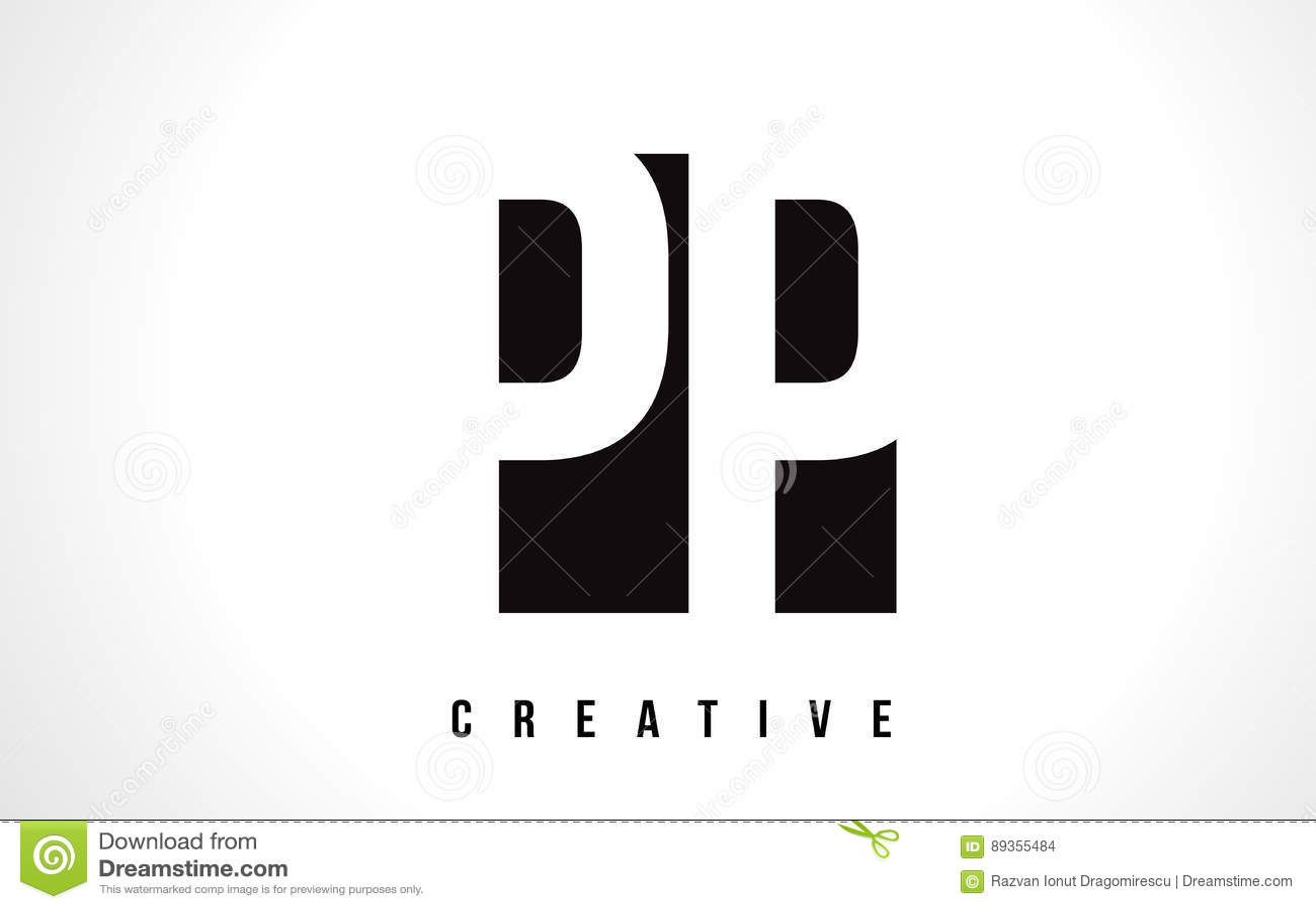 PP P White Letter Logo Design With Black Square Stock Vector