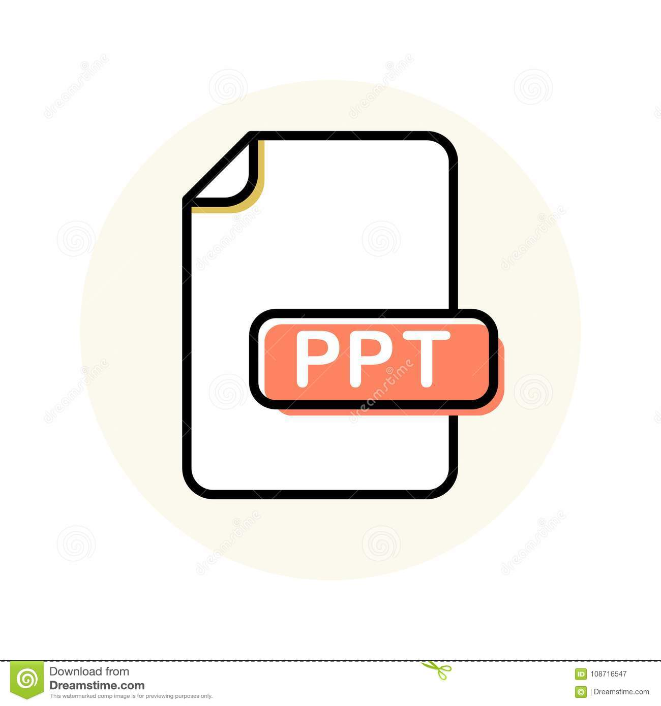 ppt file format extension color line icon stock vector