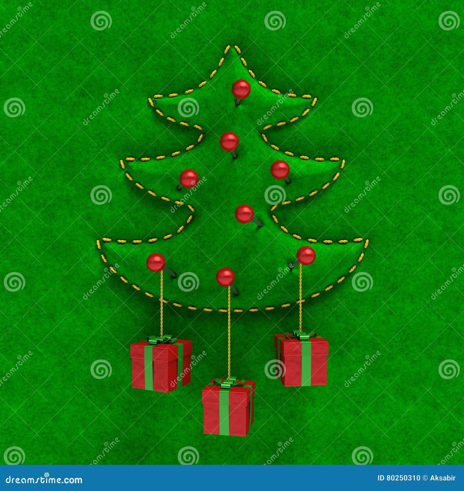 Prägeartiger Samt Weihnachtsbaum mit Geschenkboxen