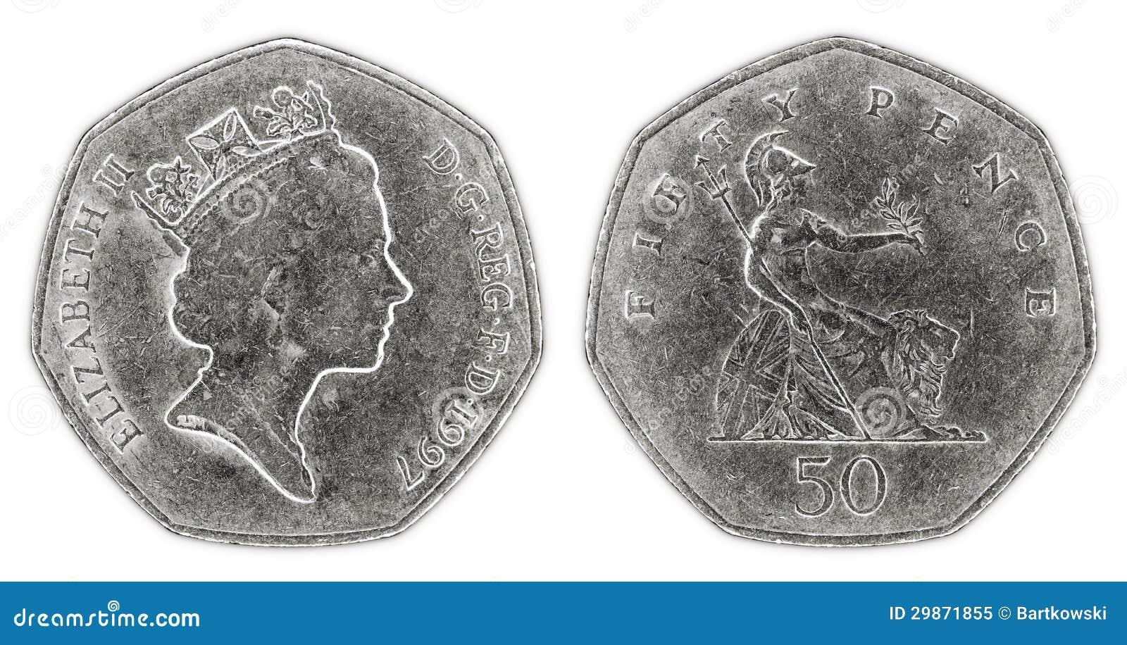 Prägen abgetragene fünfzig Pennys mit Königin Elizabeth II