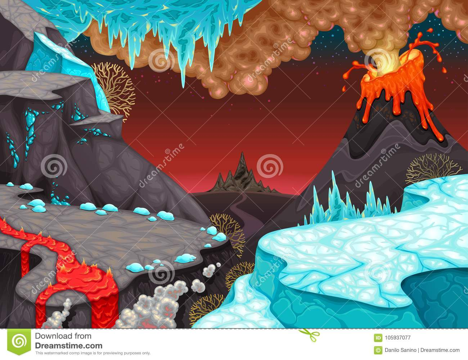 Prähistorische Landschaft mit Feuer und Eis