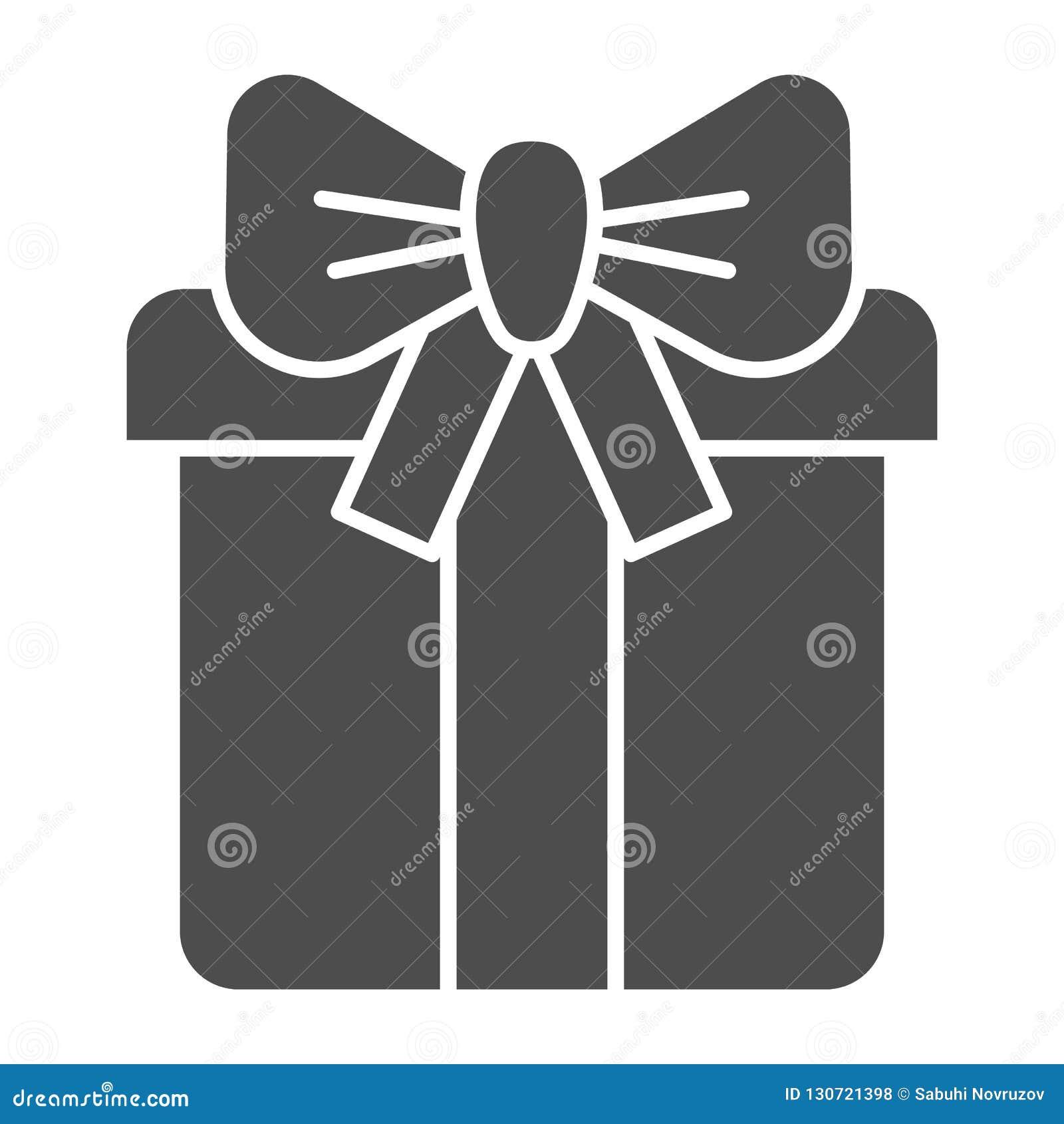 Präsentkarton mit fester Ikone des Bogens Geschenkboxvektorillustration lokalisiert auf Weiß Paket mit Bevorzugung Glyph-Artentwu
