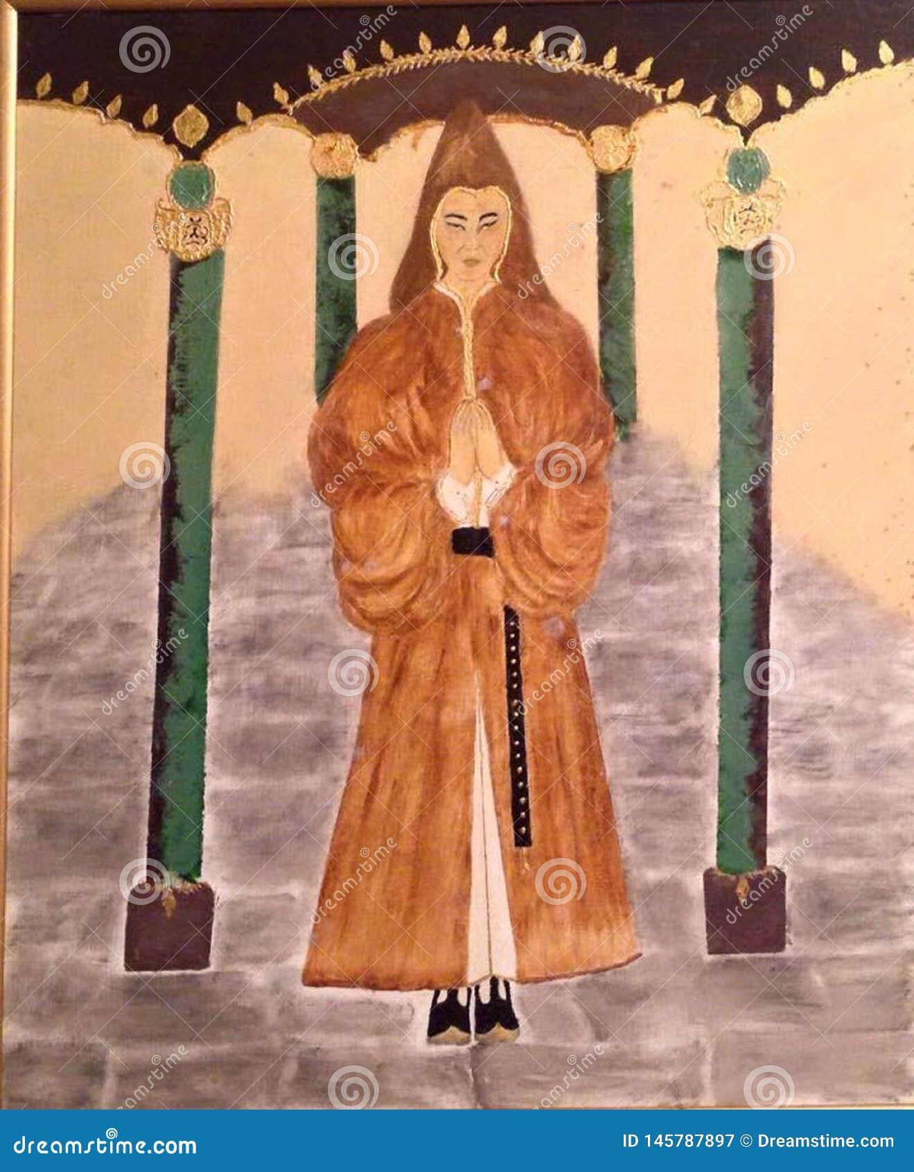 Präst helgon, helig man för tempel, med huva man som är from