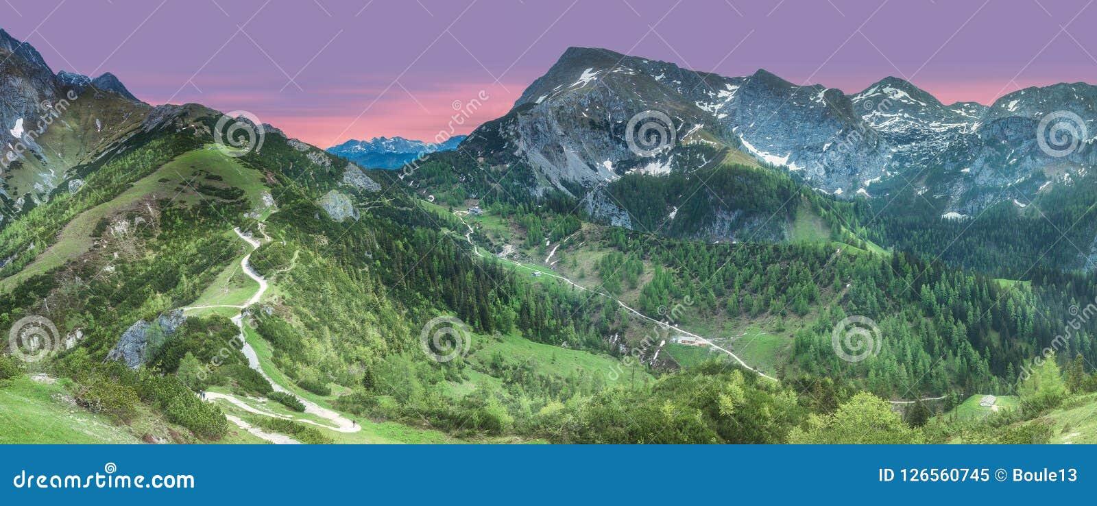 Pré avec la route en parc national de Berchtesgaden