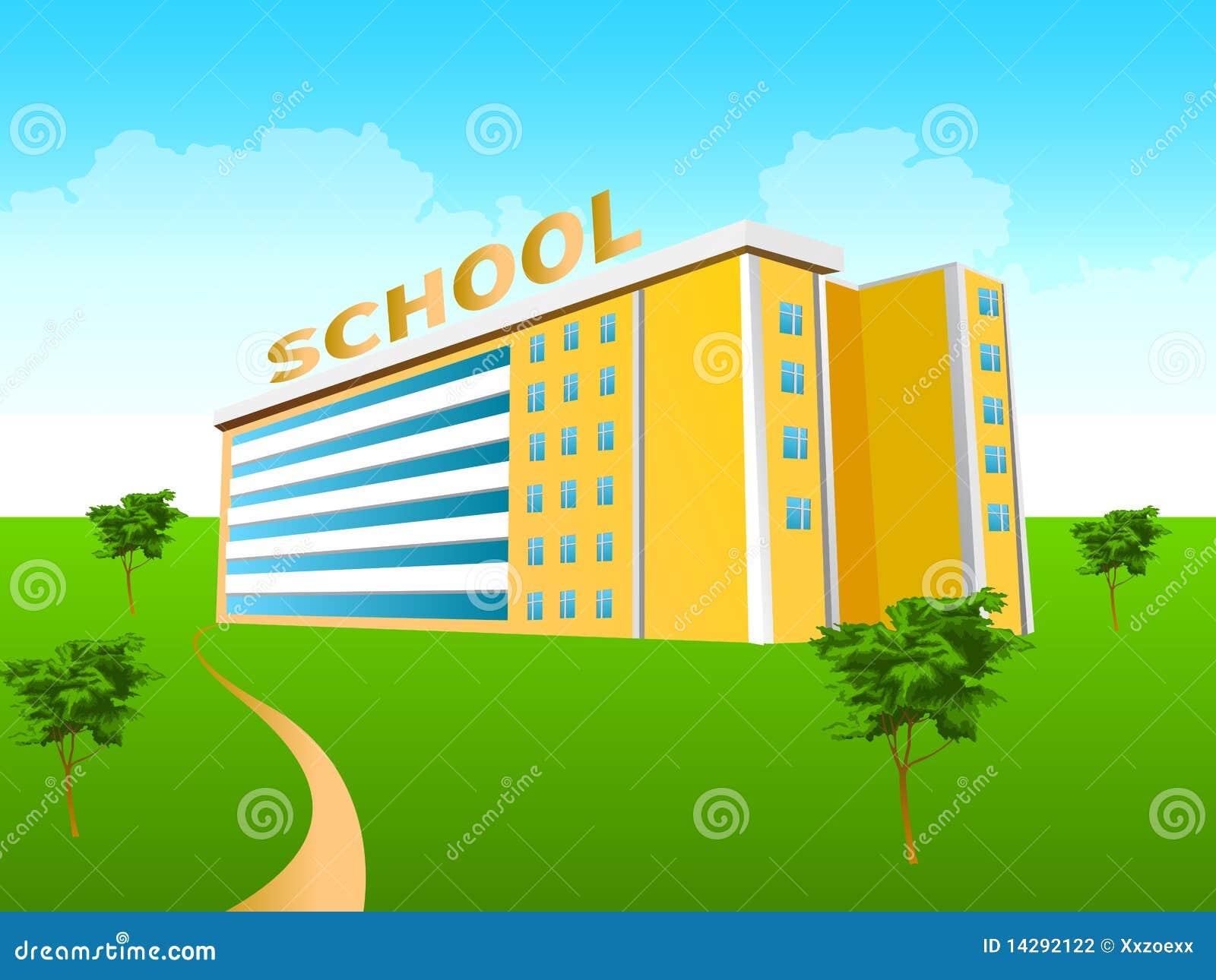 Prédio da escola no verde