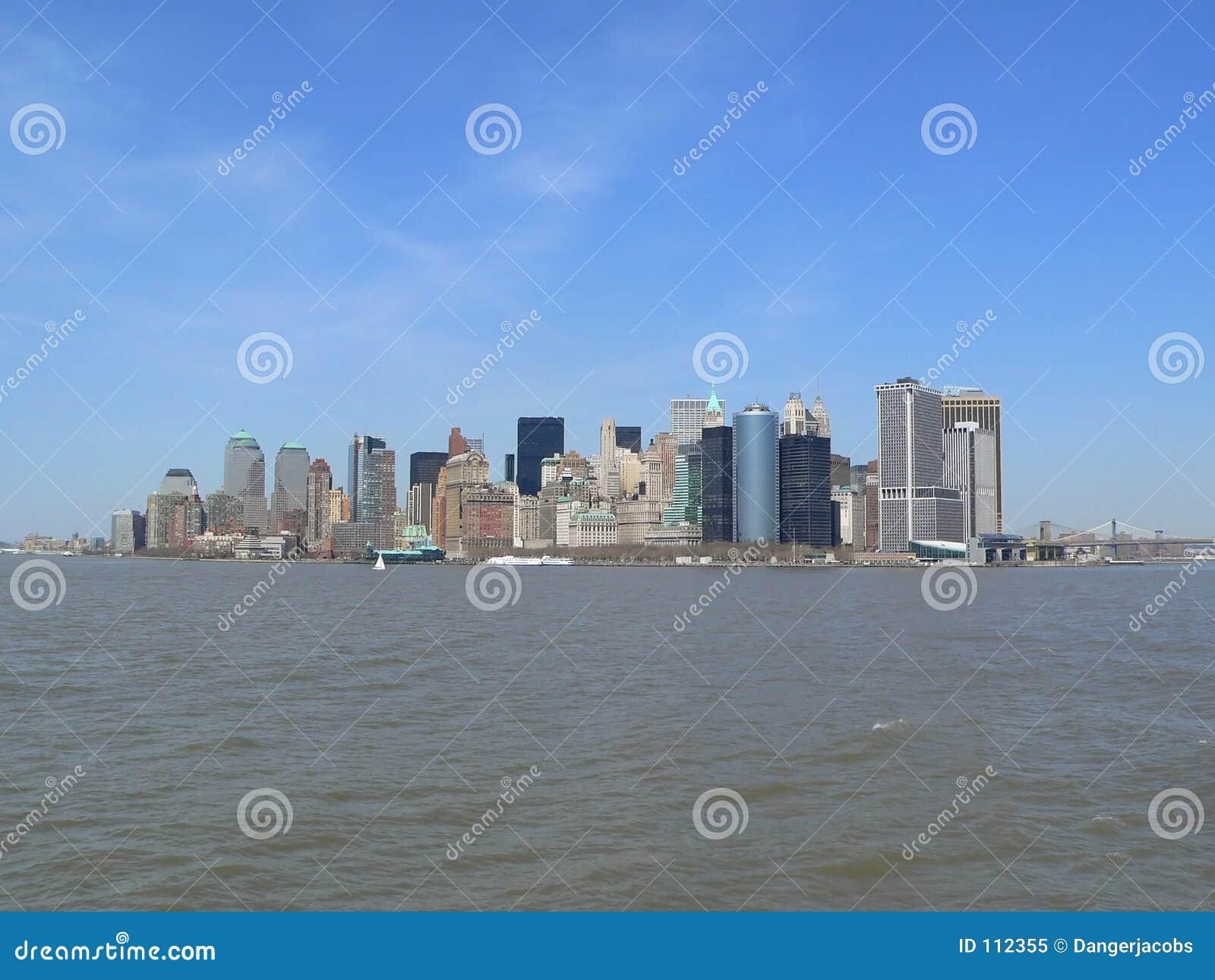 Prédio de escritórios, edifício de apartamento, arranha-céus, suficiência skyline de Manhattan, New York City