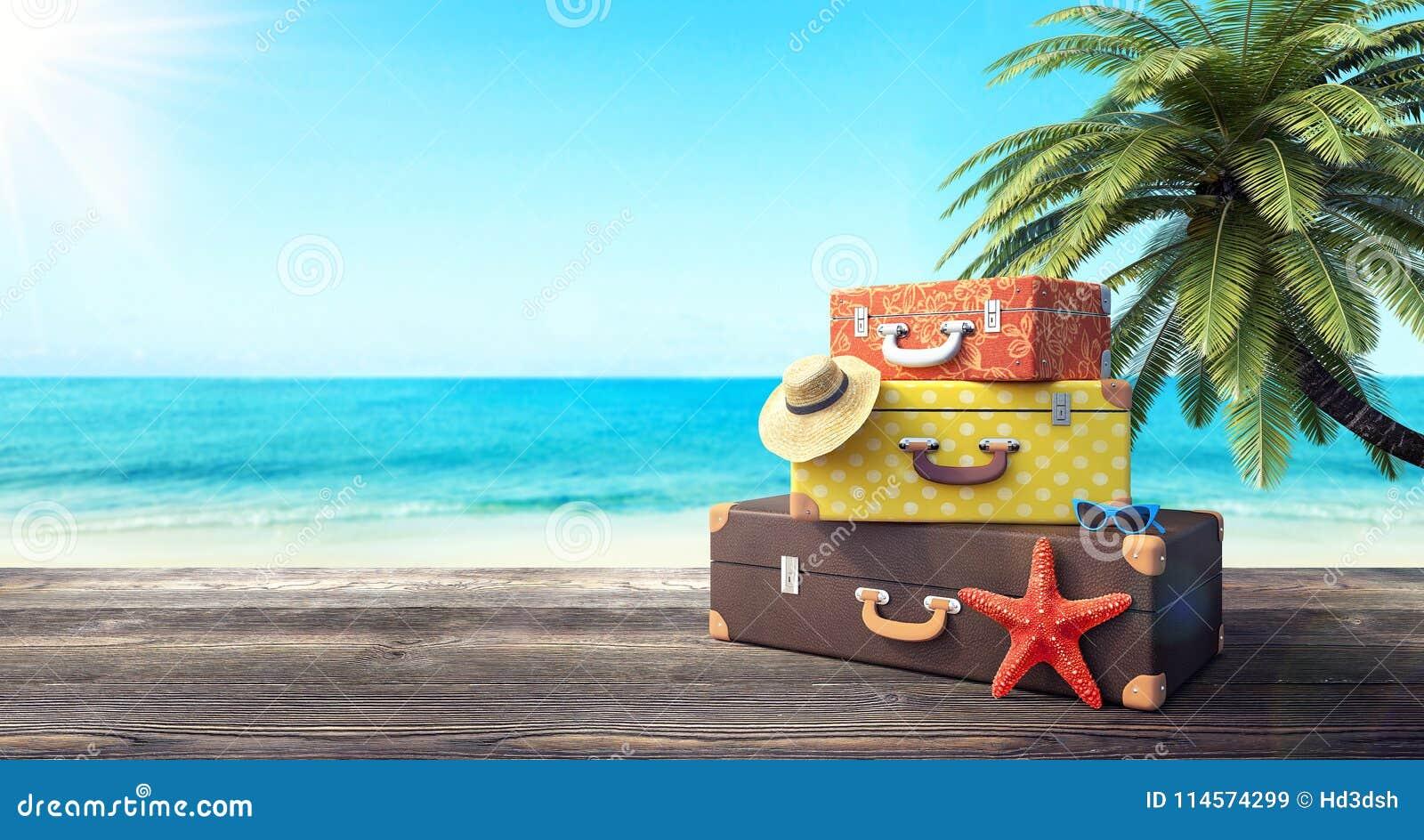 Préparez pour des vacances d été, fond de voyage