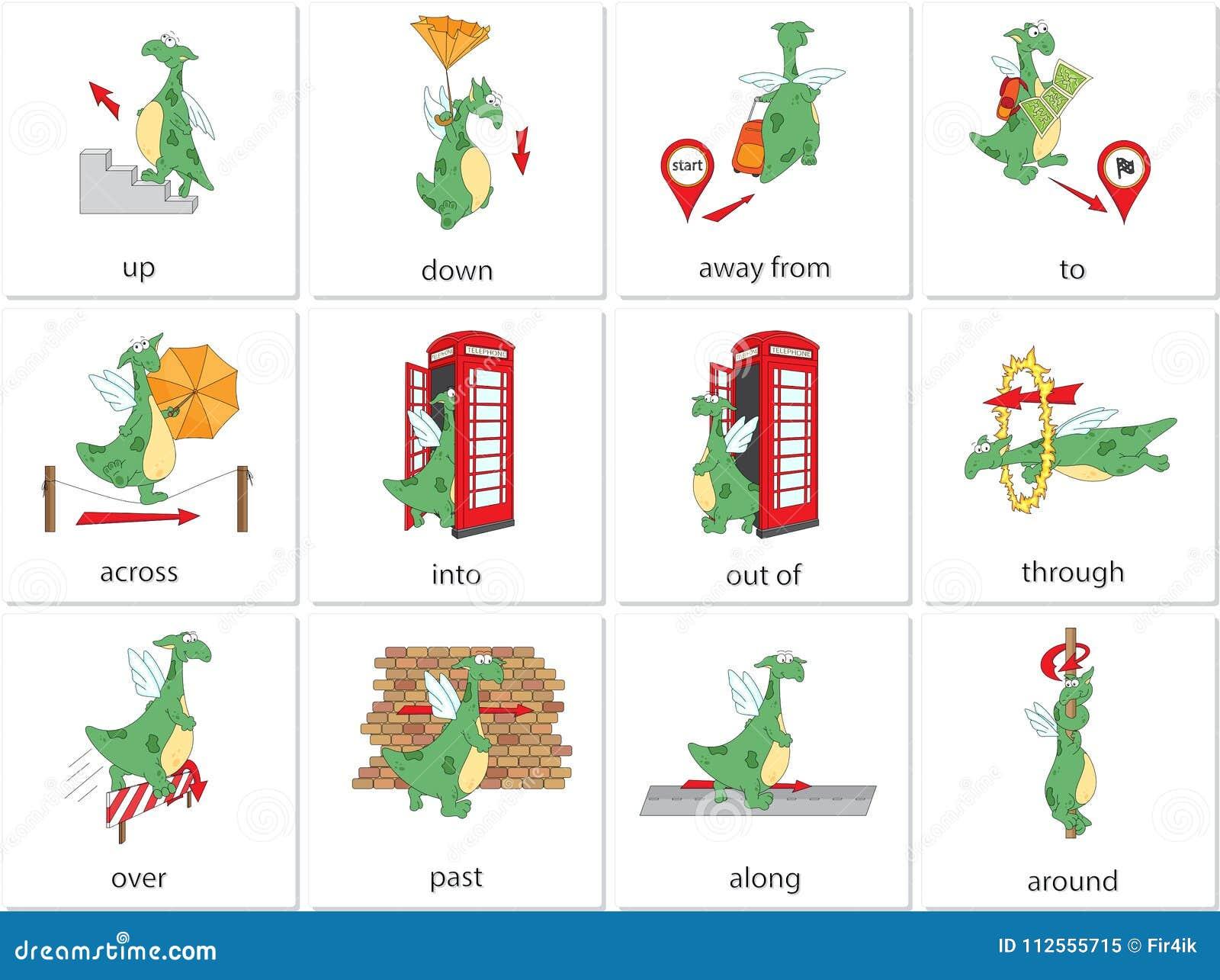 Prépositions de dragon de bande dessinée du mouvement Grammaire anglaise dans le pict