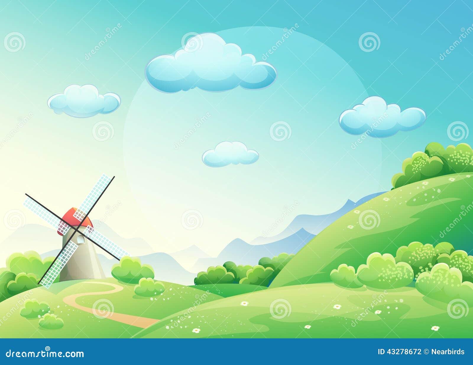 Prés d illustration avec le moulin