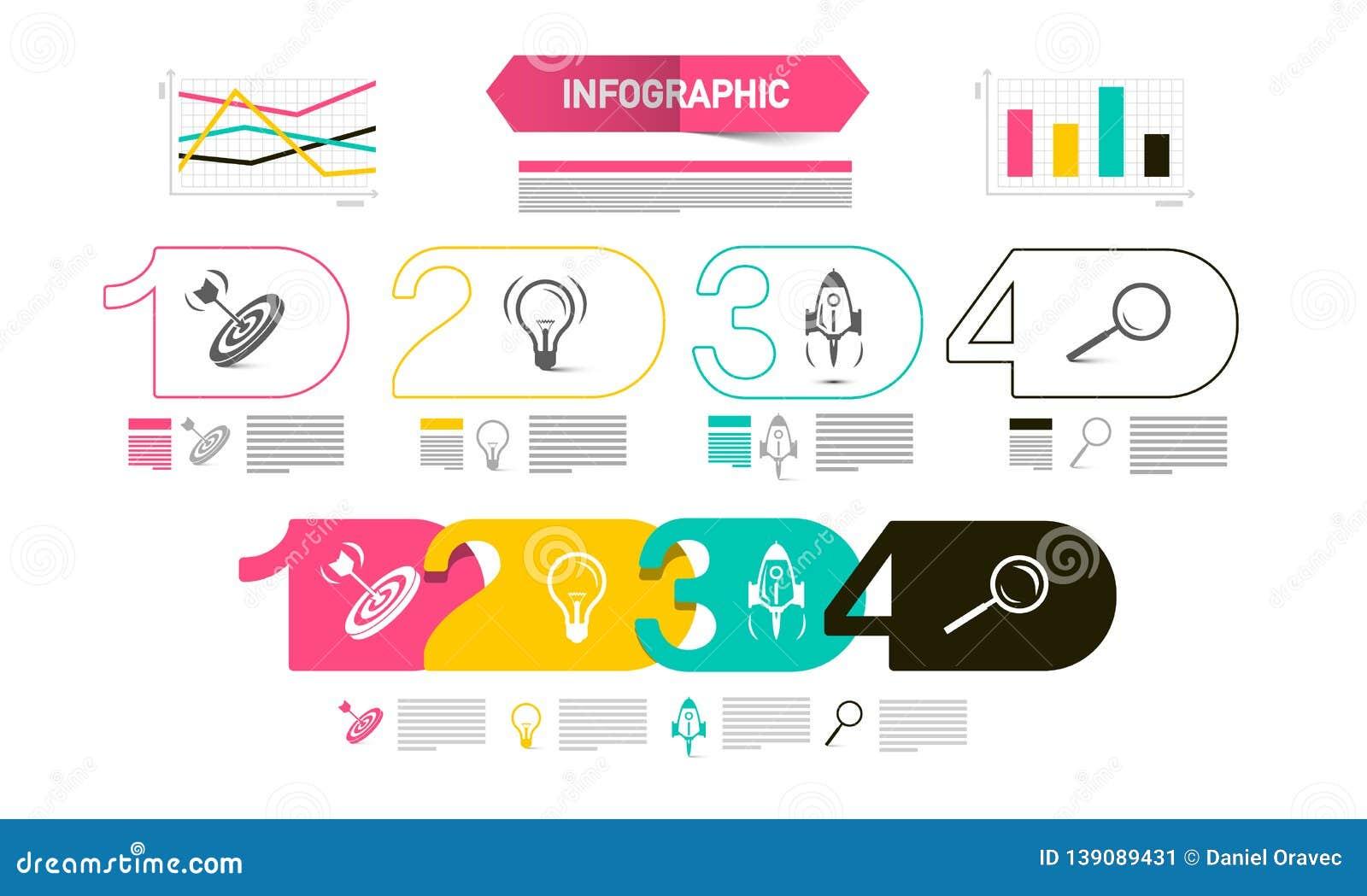 Présentation moderne de Web de quatre étapes avec des graphiques